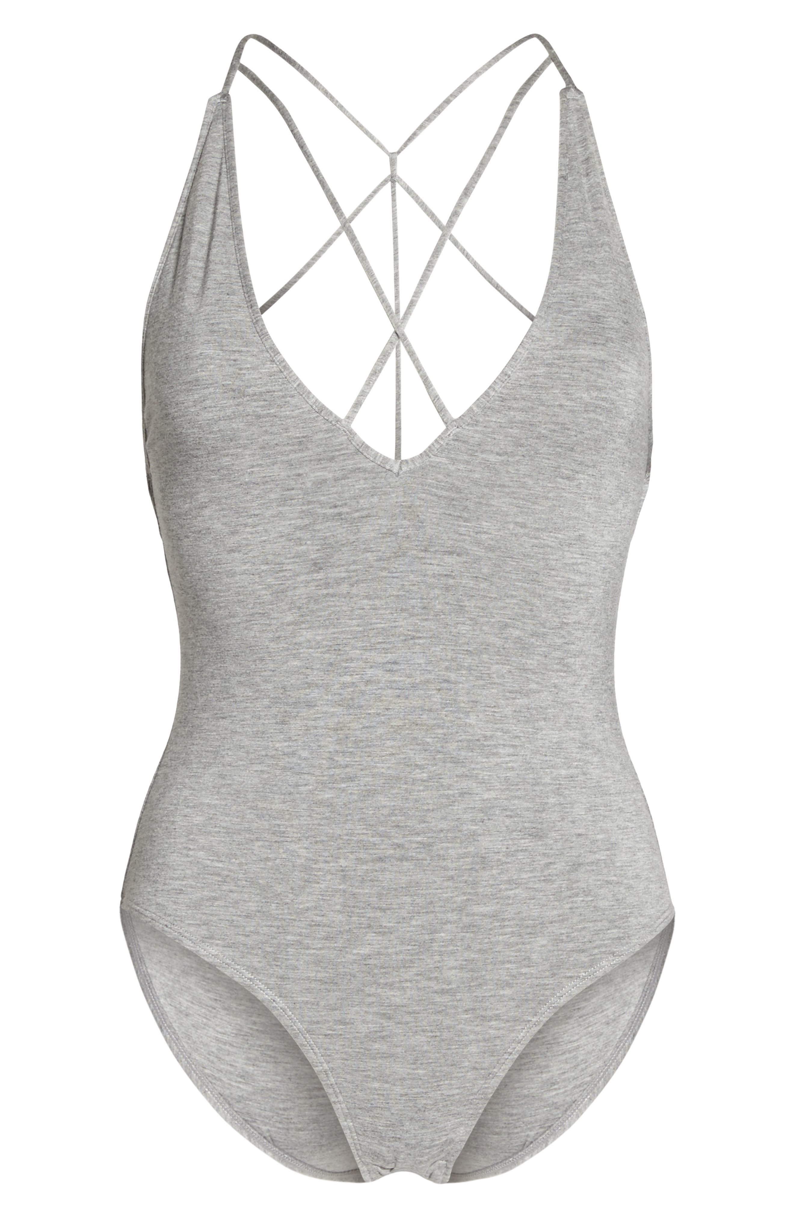 Strappy Bodysuit,                             Alternate thumbnail 4, color,                             Hthr Grey