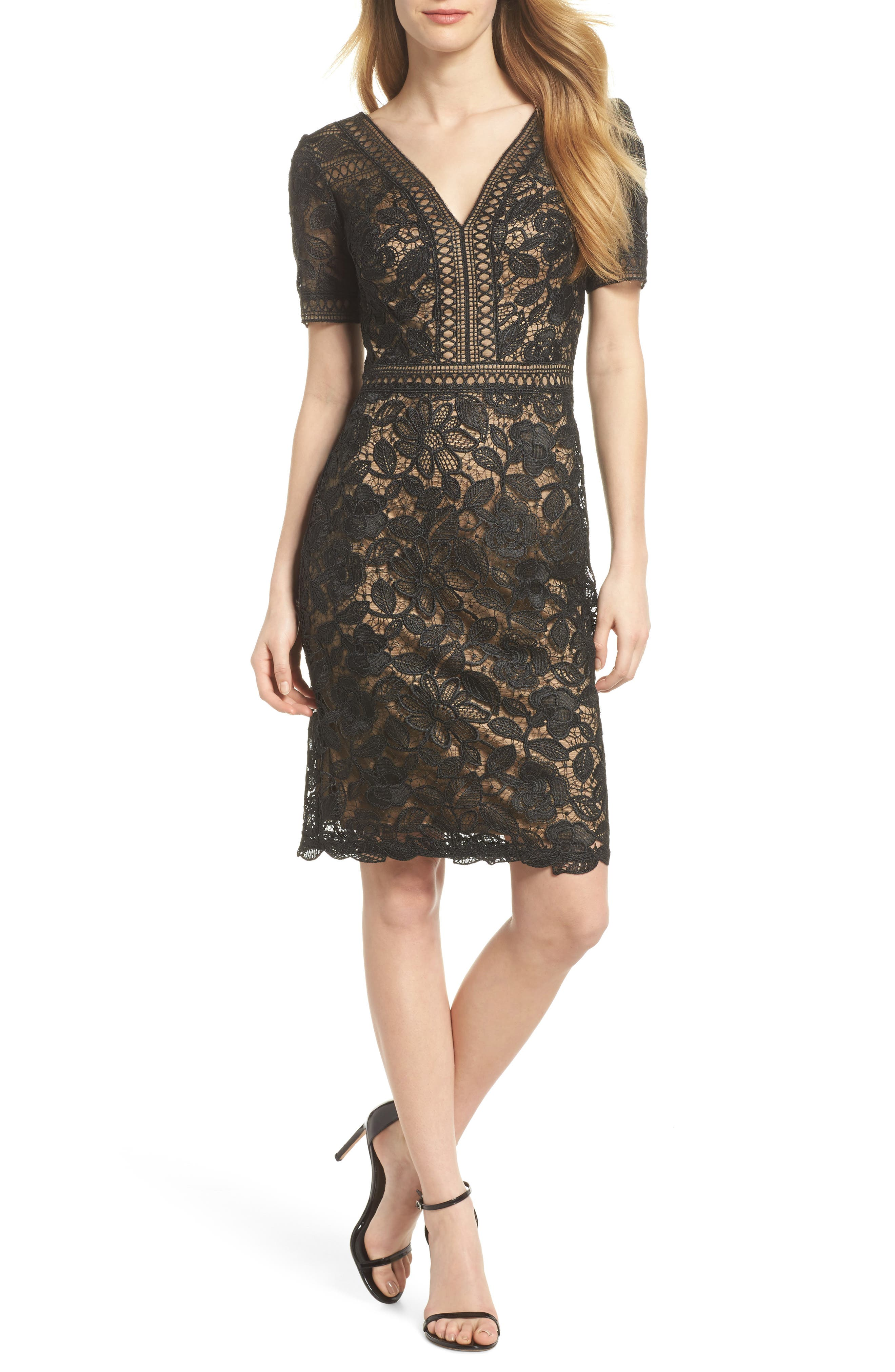 V-Neck Lace Sheath Dress,                         Main,                         color, Black/ Nude
