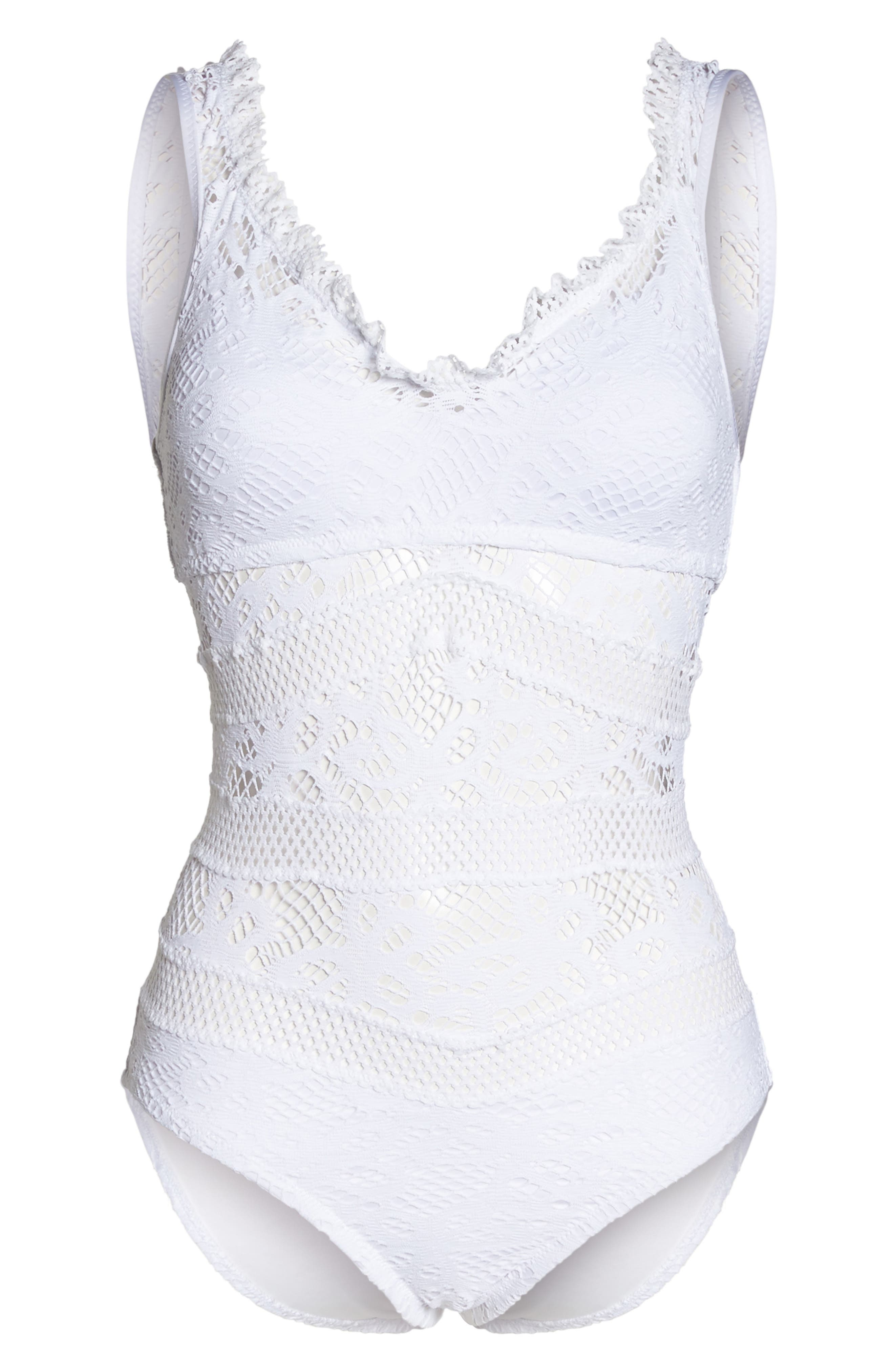 Color Play Crochet One-Piece Swimsuit,                             Alternate thumbnail 6, color,                             White