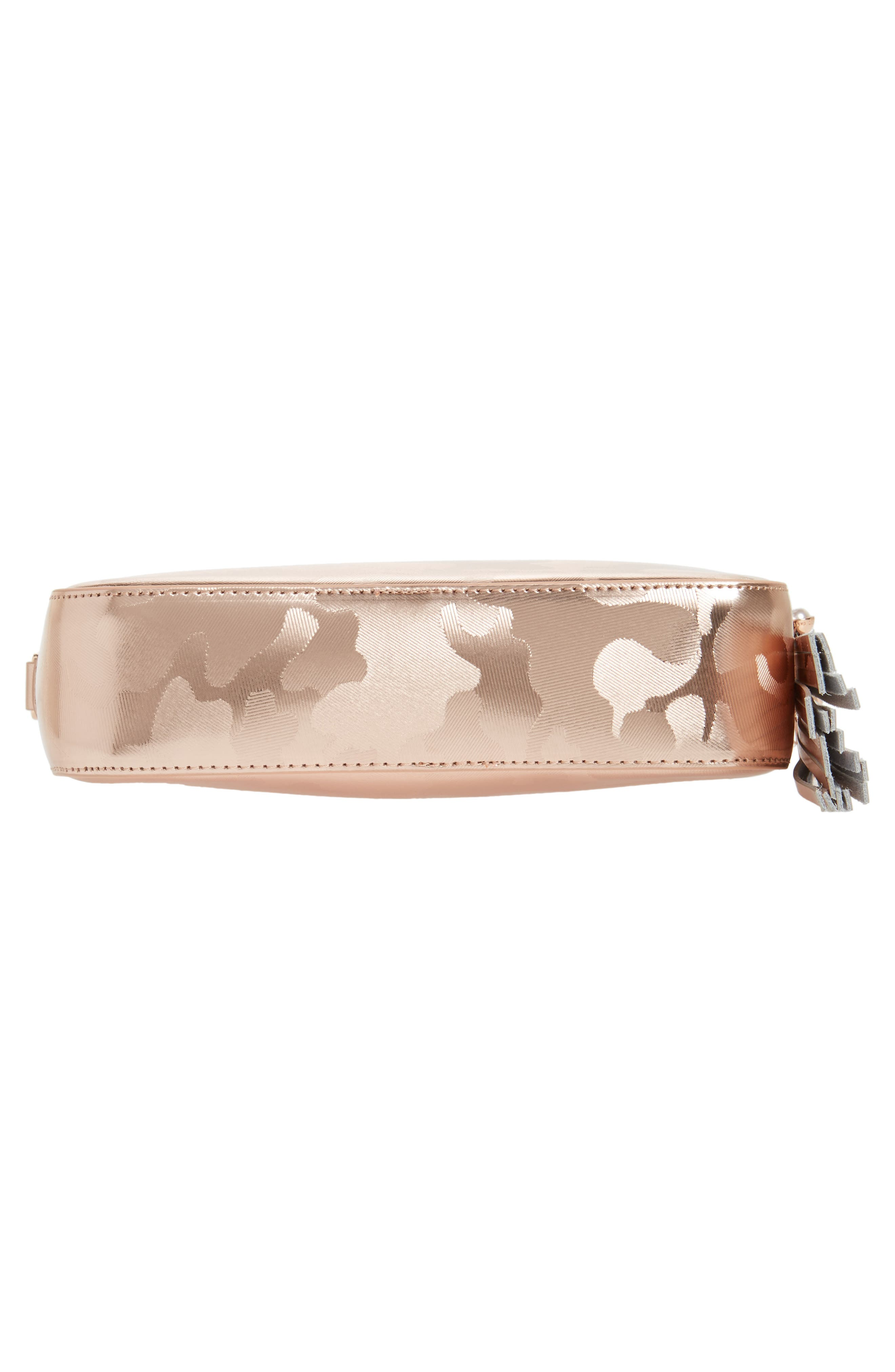 Camouflage Leather Camera Bag,                             Alternate thumbnail 4, color,                             Rose Gold