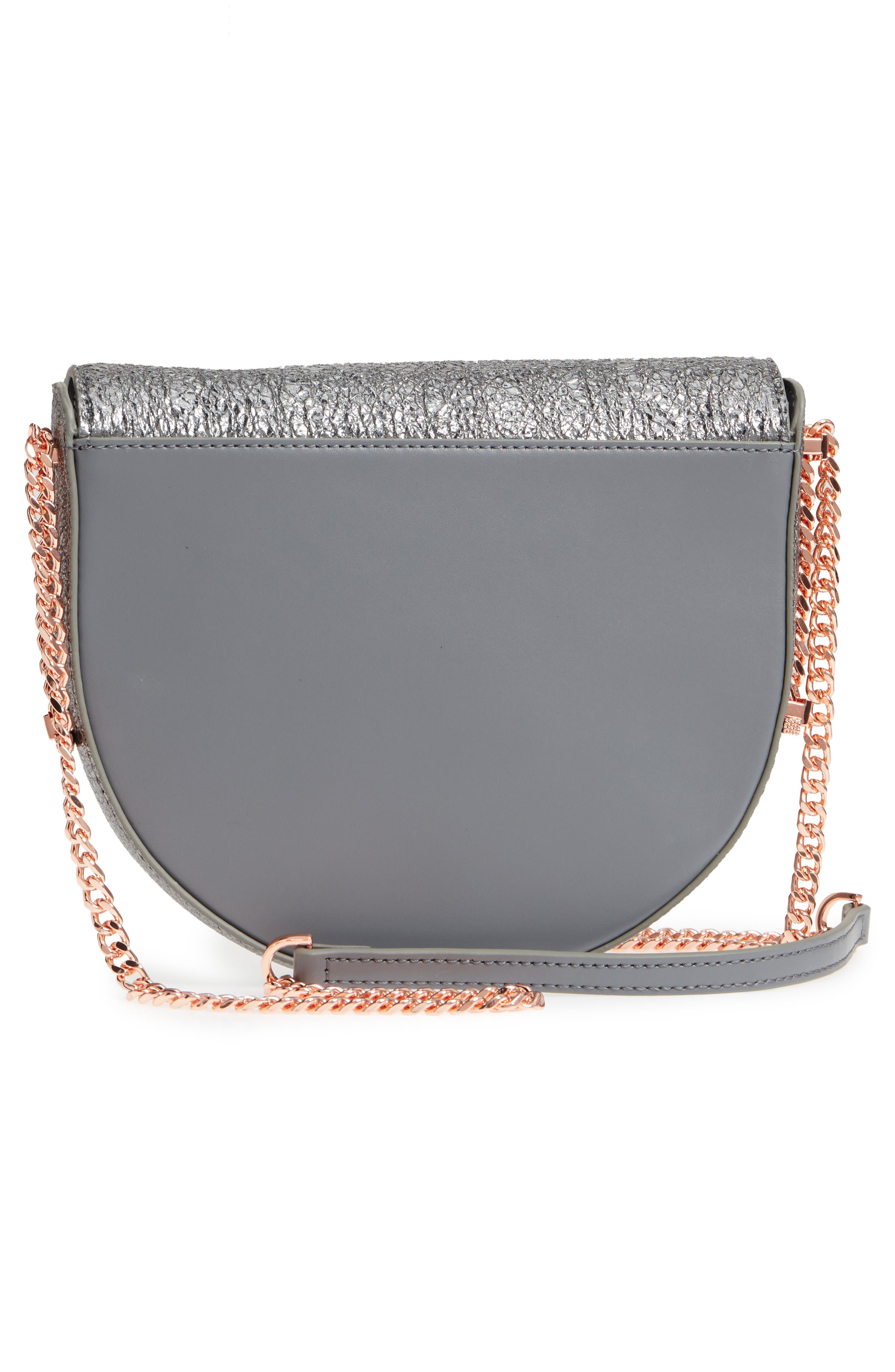 Half Moon Metallic Leather Crossbody Bag,                             Alternate thumbnail 3, color,                             Gunmetal