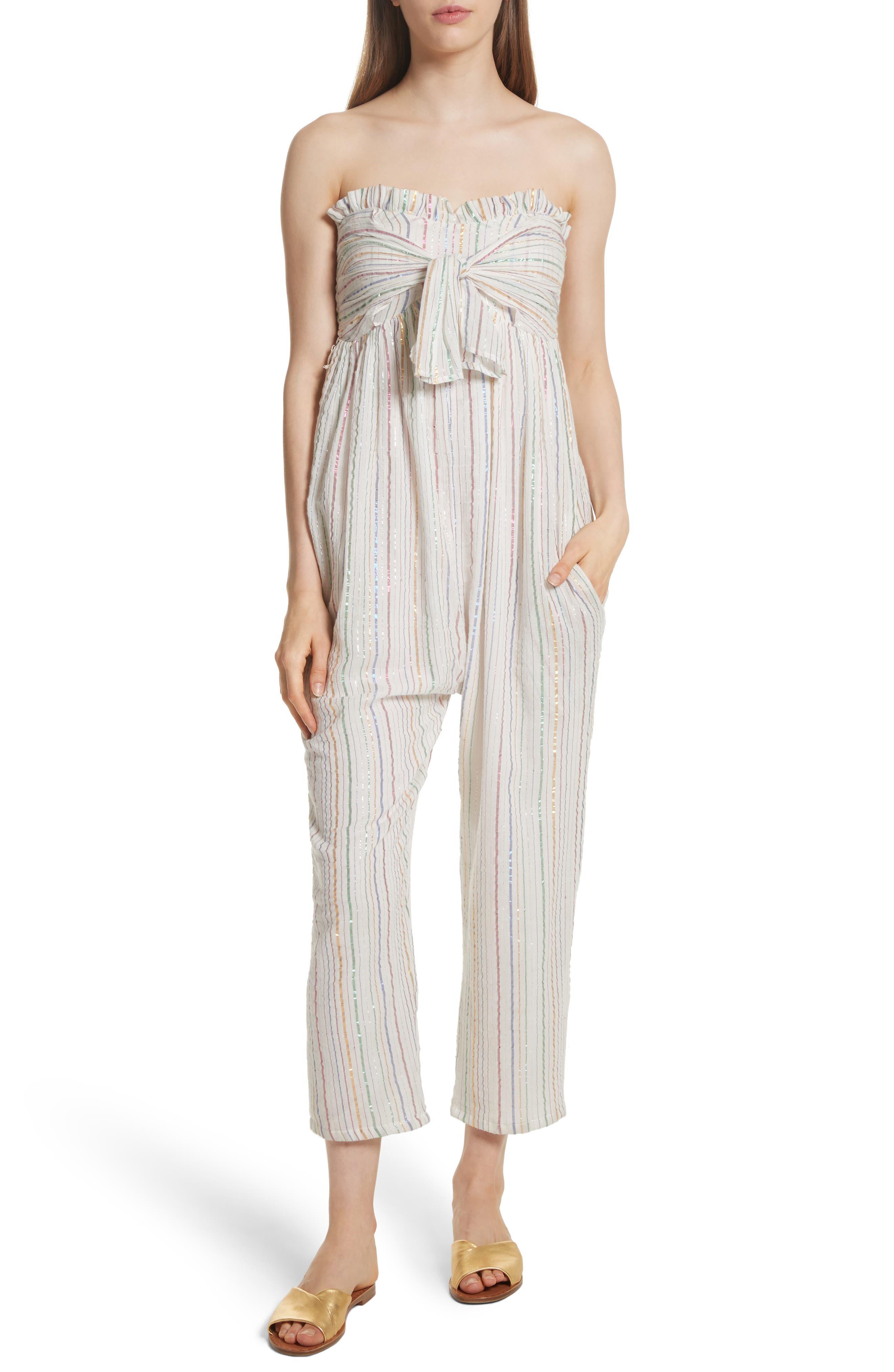 Apiece Apart Gipsea Metallic Stripe Strapless Jumpsuit