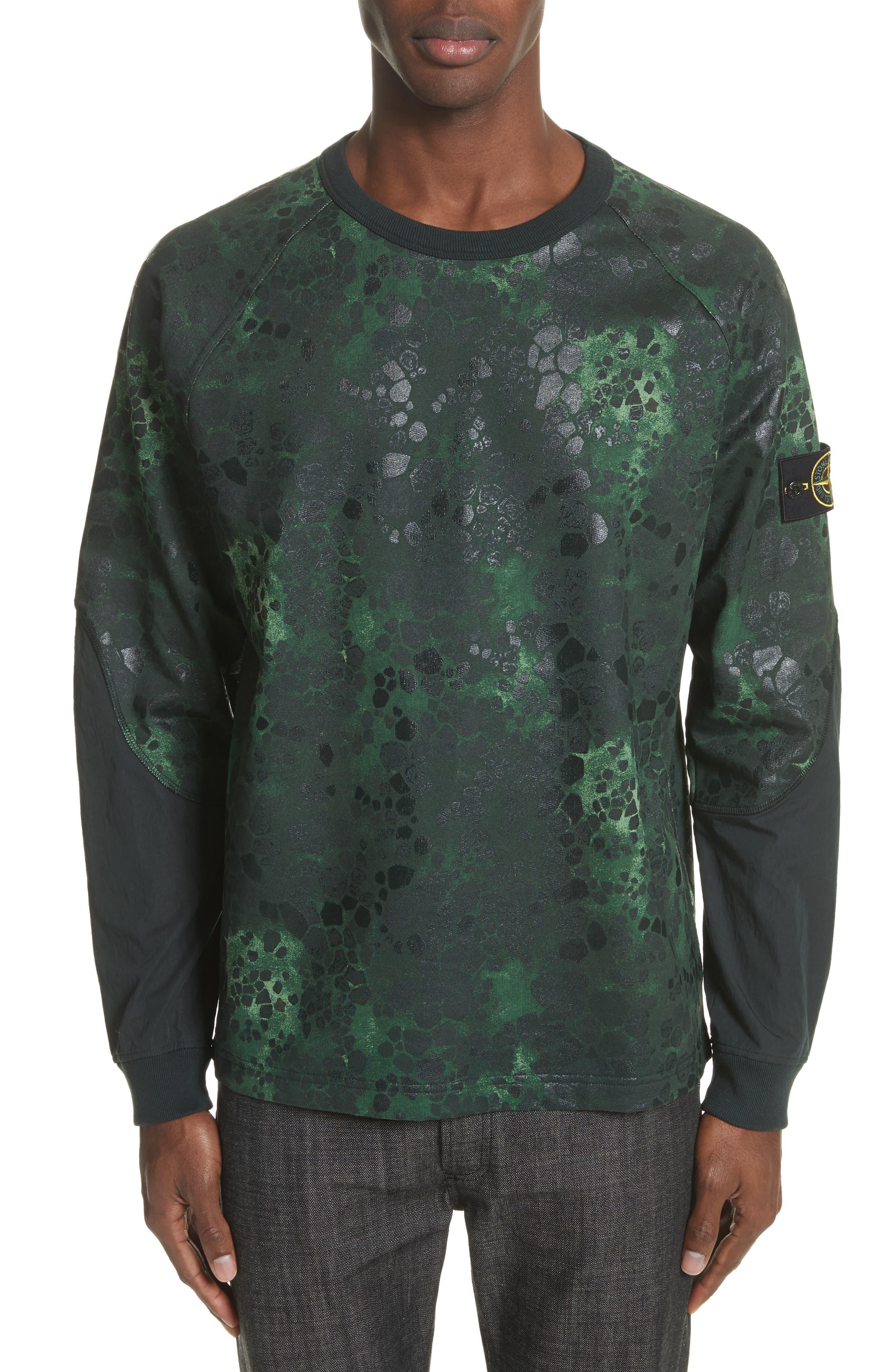 Military Crewneck Sweatshirt,                         Main,                         color, Green