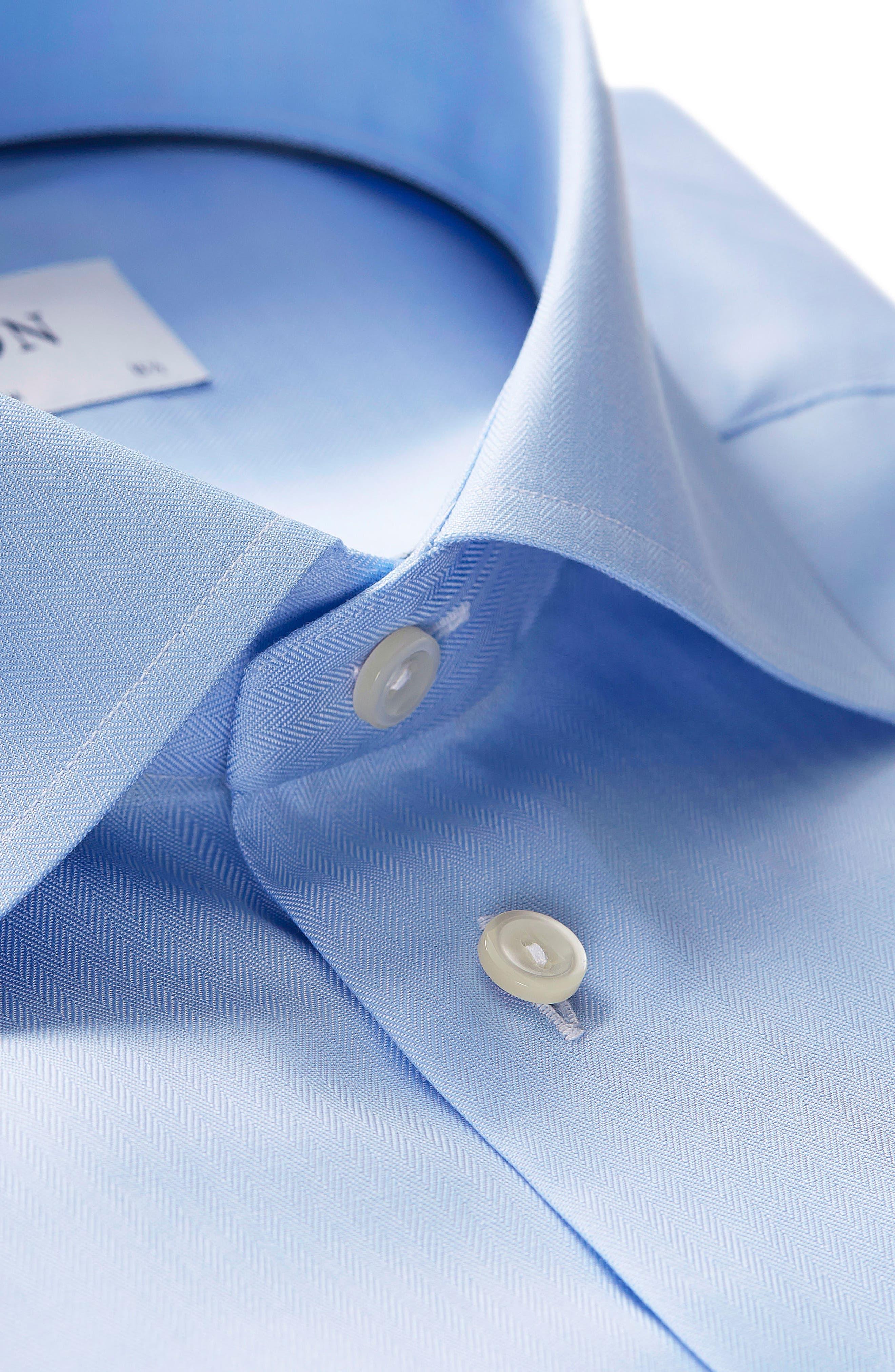 Slim Fit Herringbone Dress Shirt,                             Alternate thumbnail 2, color,                             Light Blue