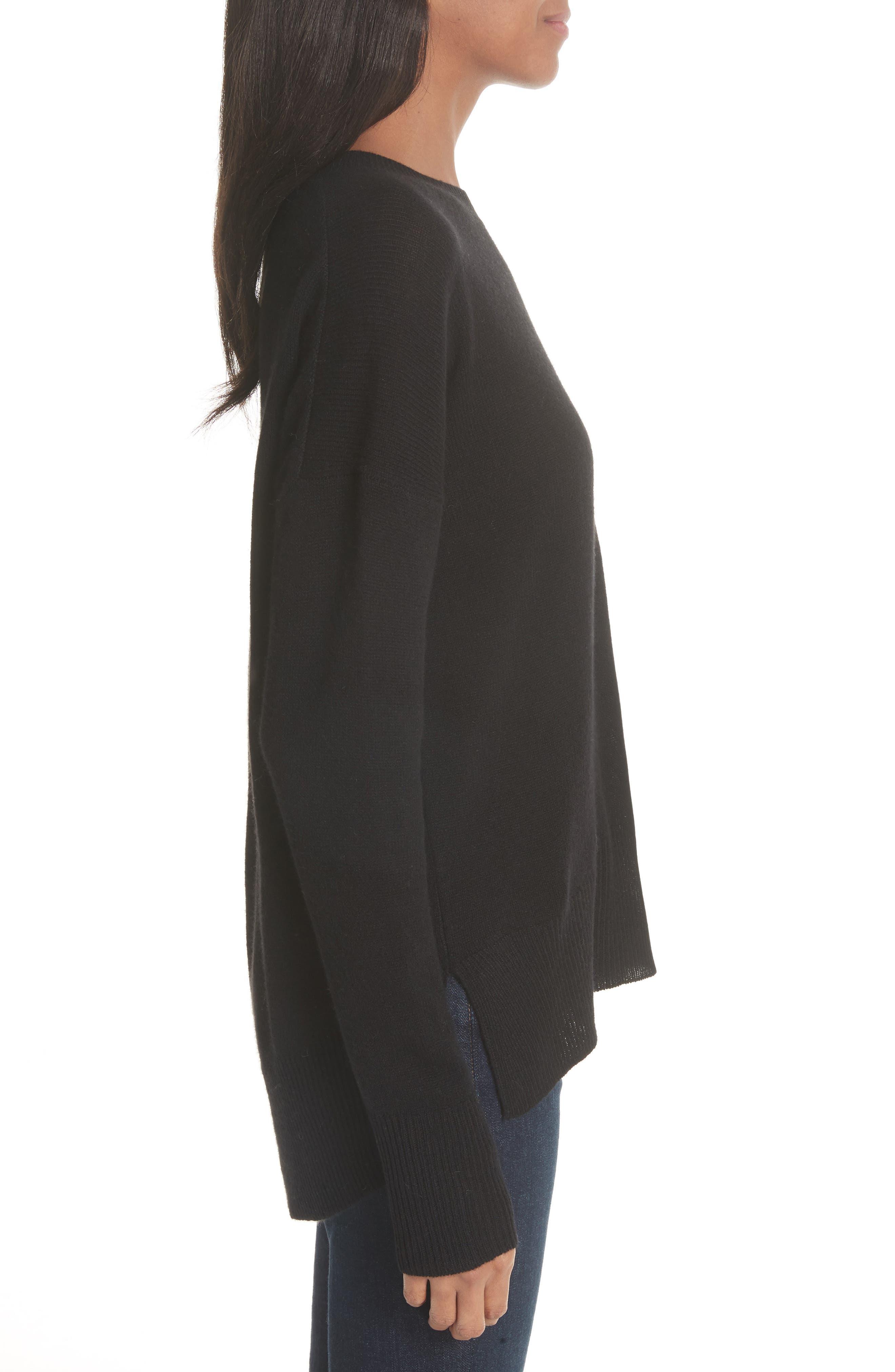 Karenia L Cashmere Sweater,                             Alternate thumbnail 3, color,                             Black