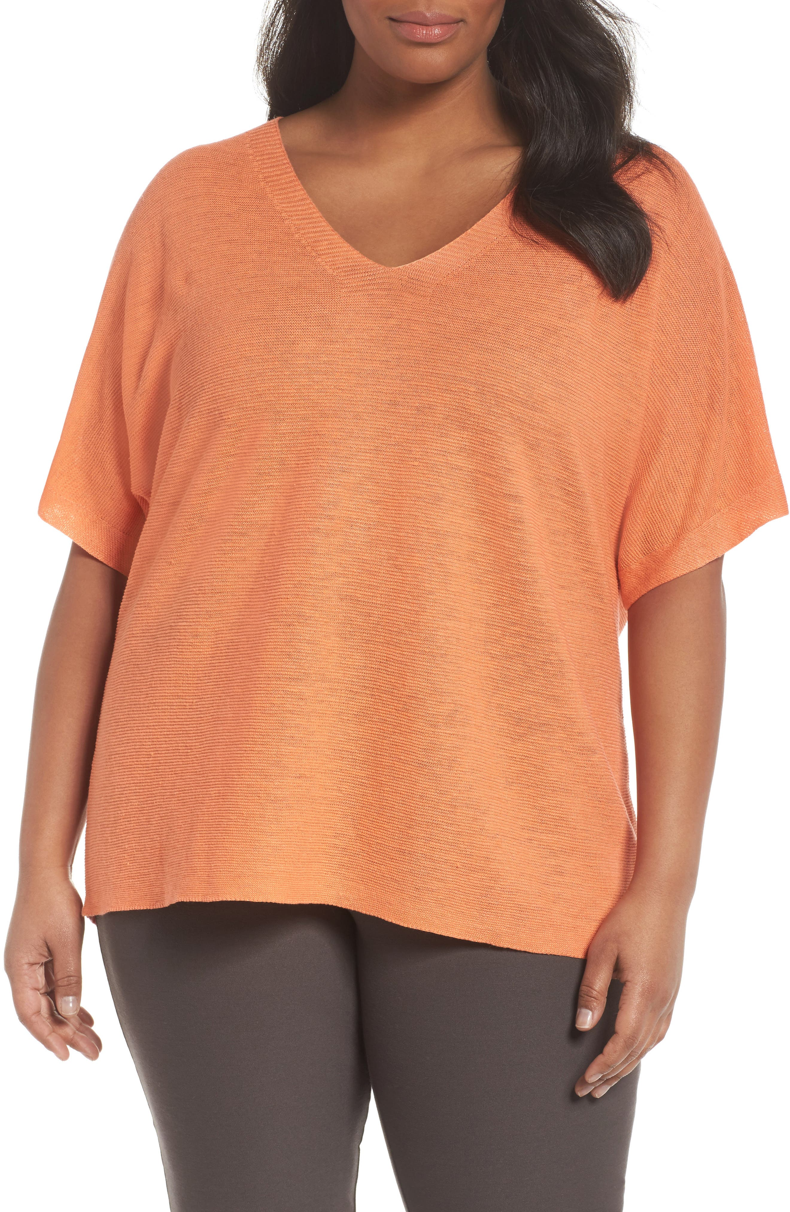 Eileen Fisher V-Neck Organic Linen Top (Plus Size)