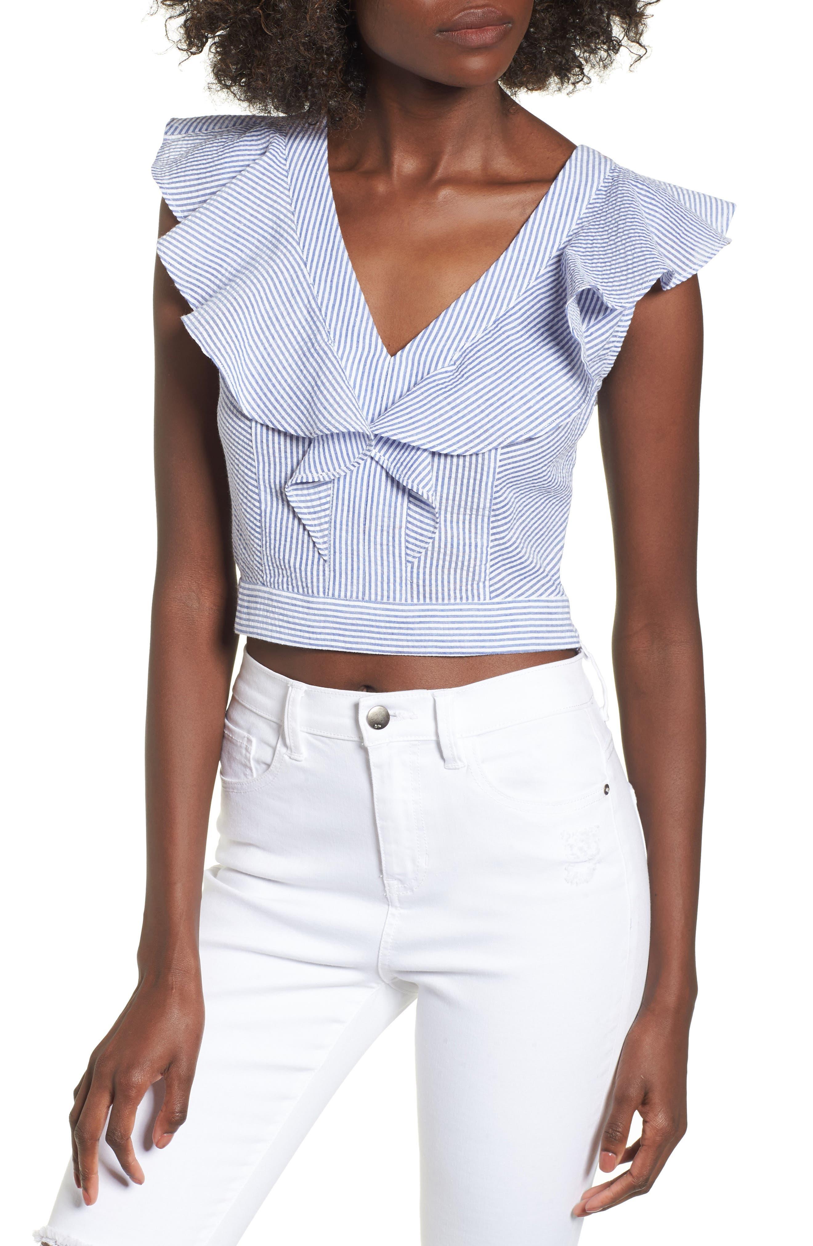 Ruffle Seersucker Crop Top,                         Main,                         color, Indigo/ White Pucker Stripe