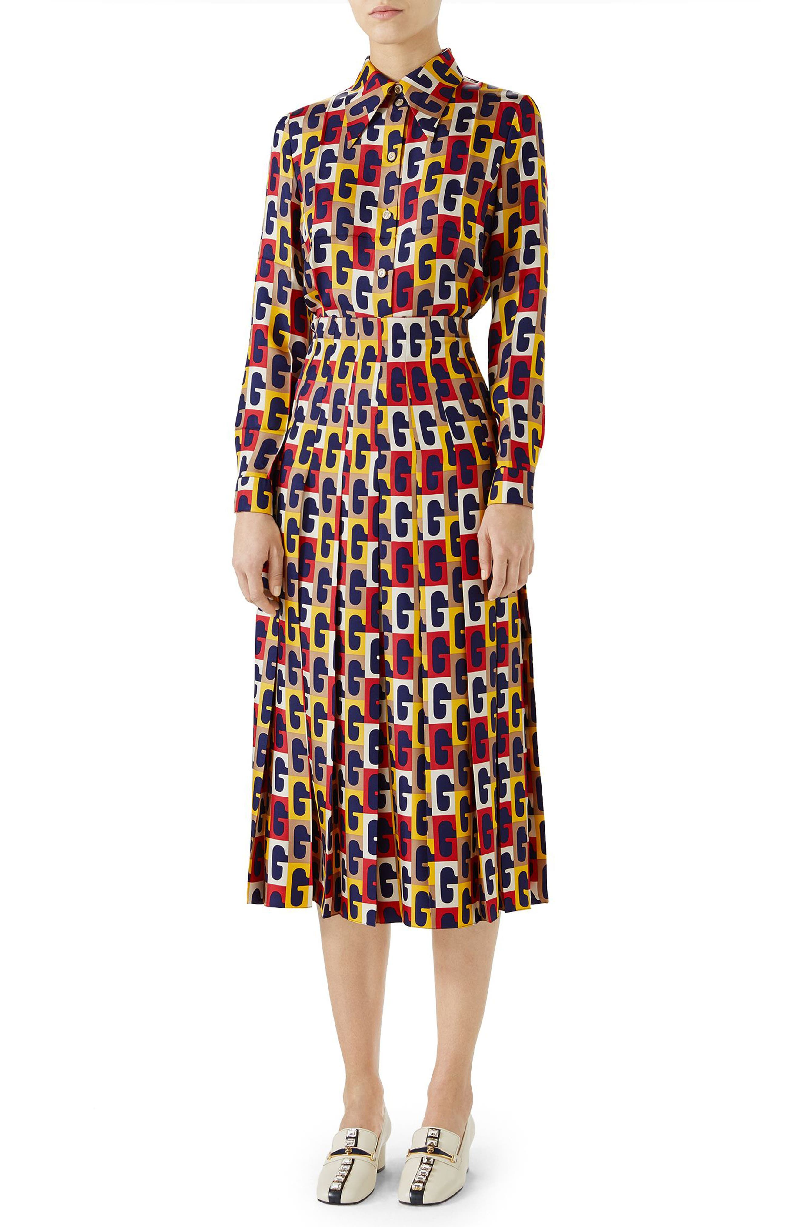 G-Sequence Print Silk Skirt,                             Alternate thumbnail 4, color,                             Ivory/ Yellow/ Red Print