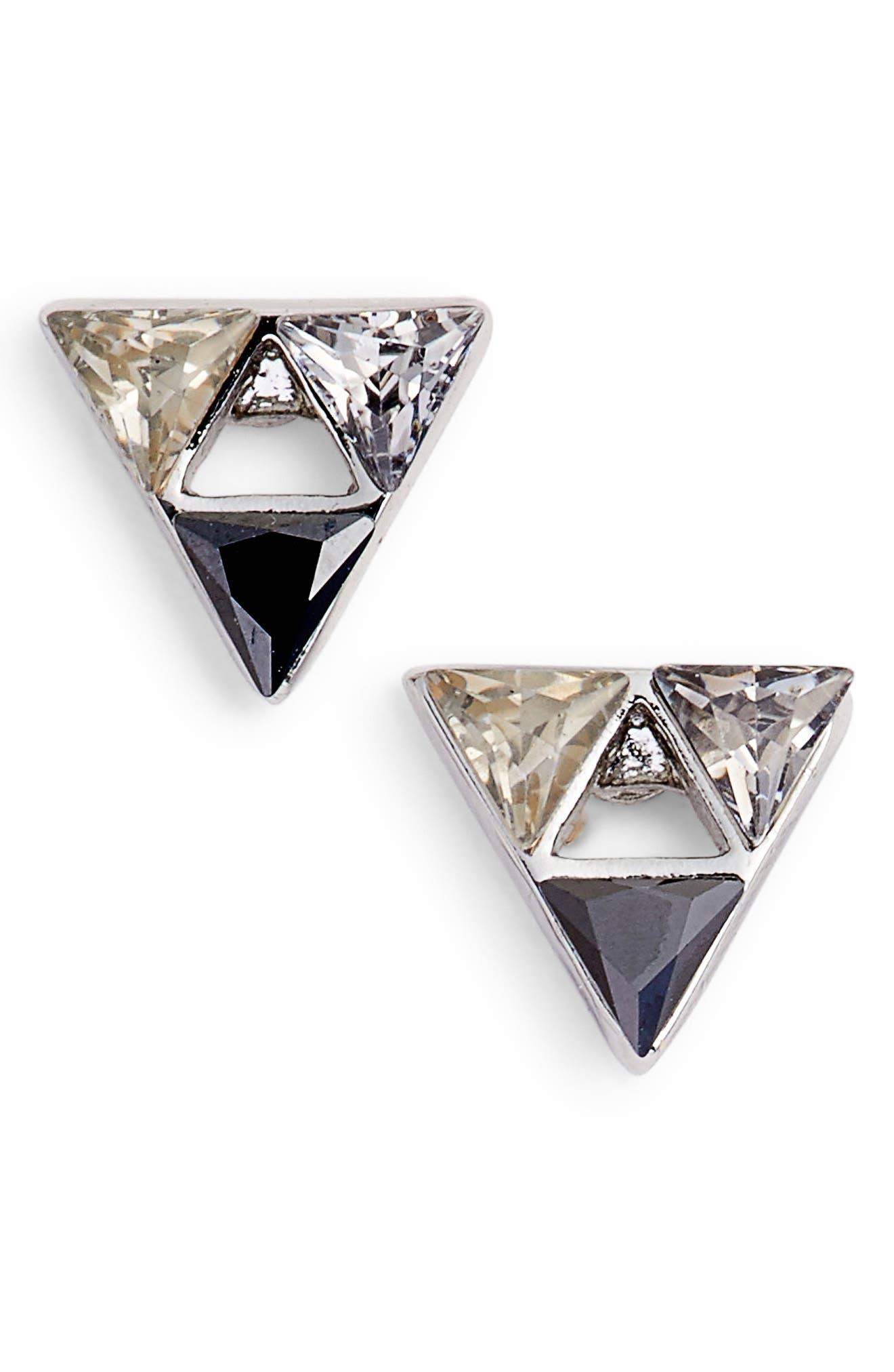 Triangle Stone Stud Earrings,                             Main thumbnail 1, color,                             Black Multi/ Silver