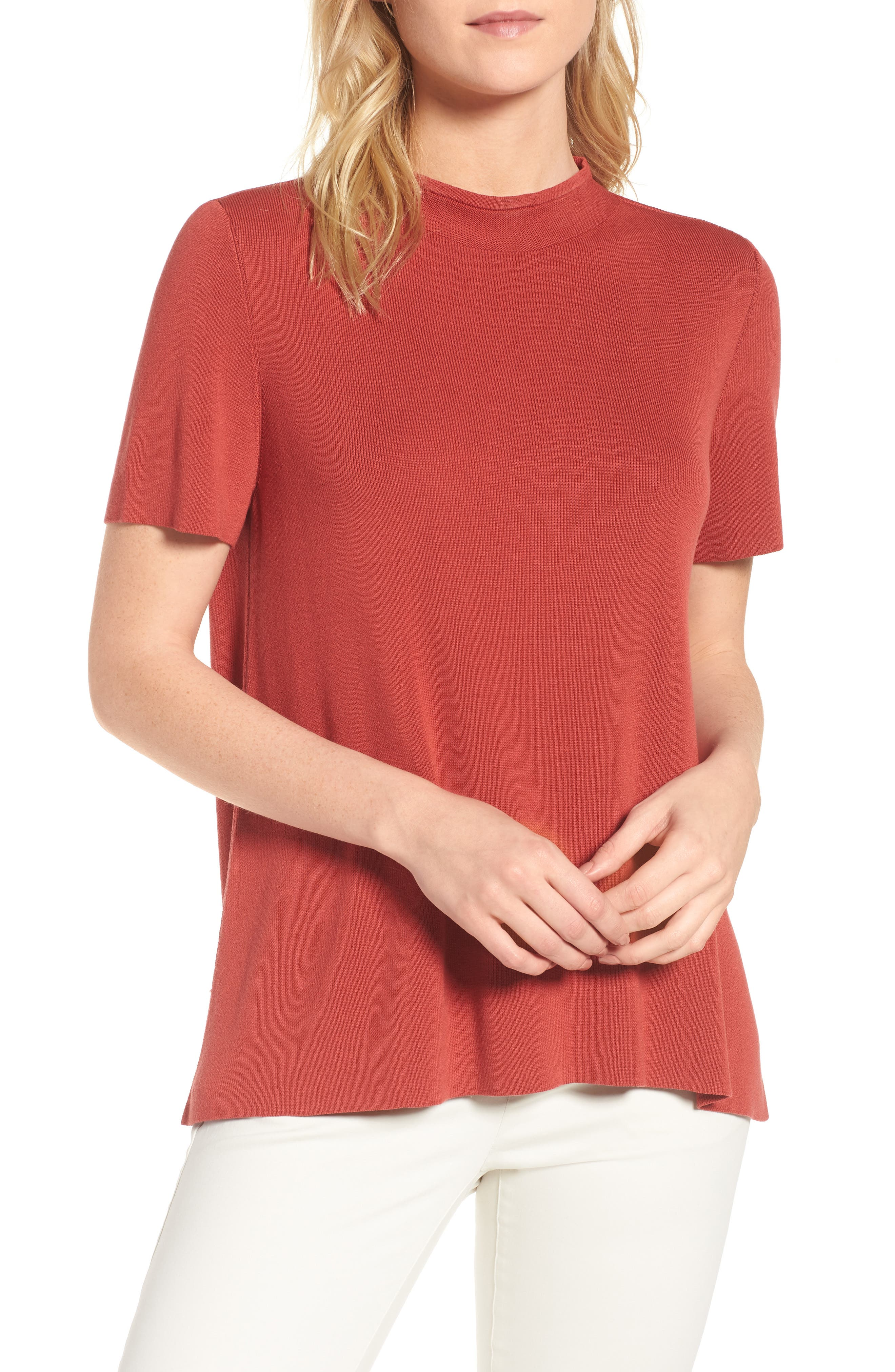 Tencel<sup>®</sup> Lyocell Knit Sweater,                             Main thumbnail 1, color,                             Coral Rose