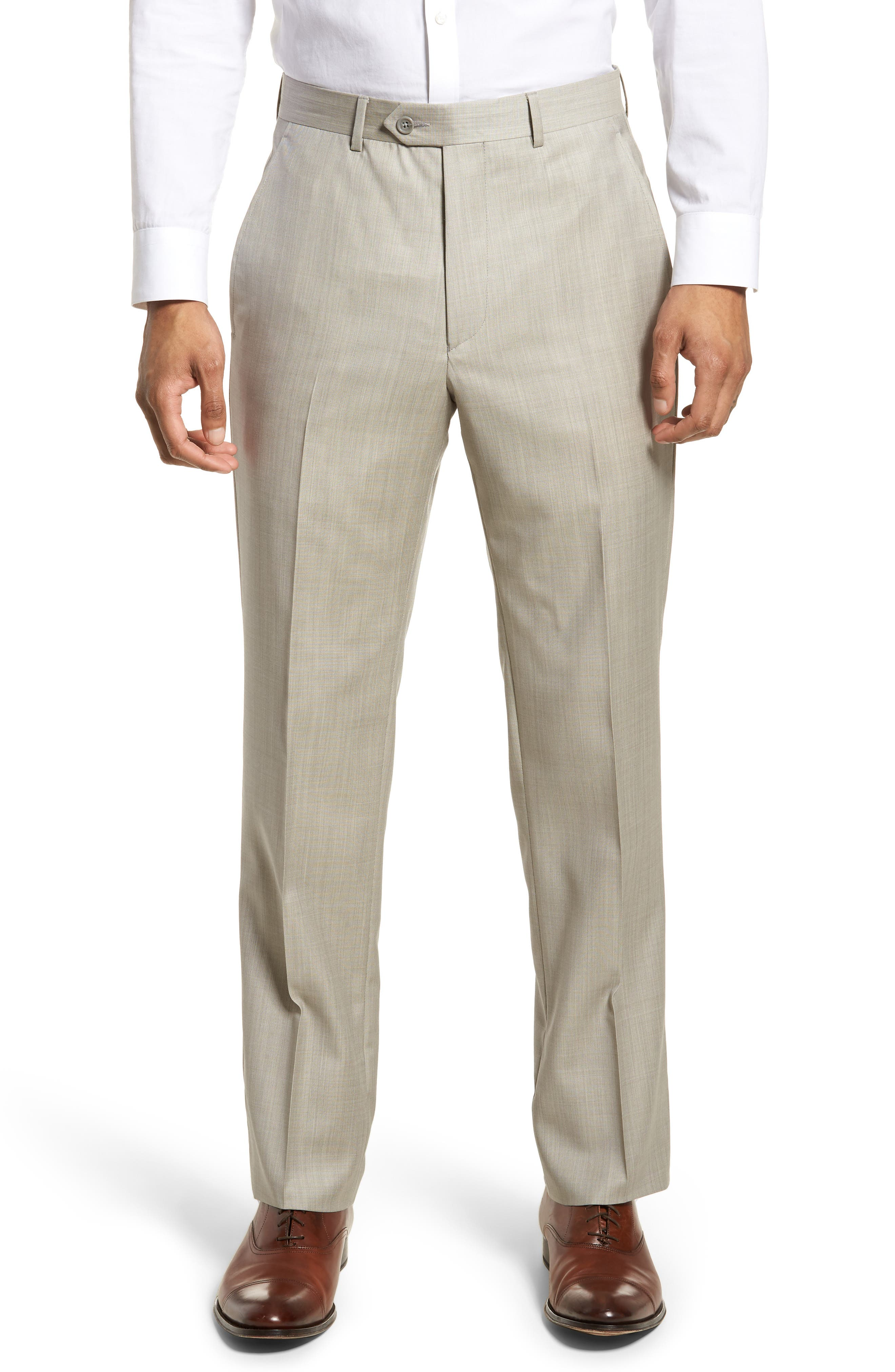 Flat Front Solid Wool Trousers,                             Main thumbnail 1, color,                             Sand