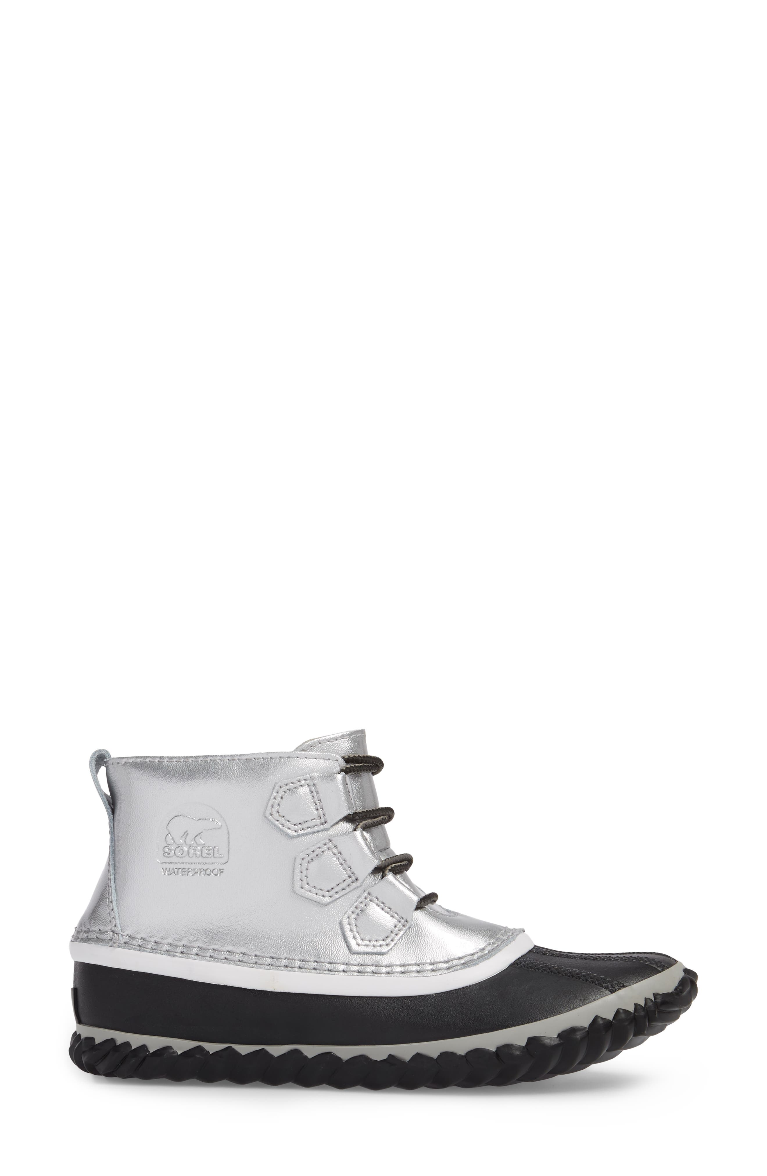 'Out N About' Leather Boot,                             Alternate thumbnail 3, color,                             Lux Black
