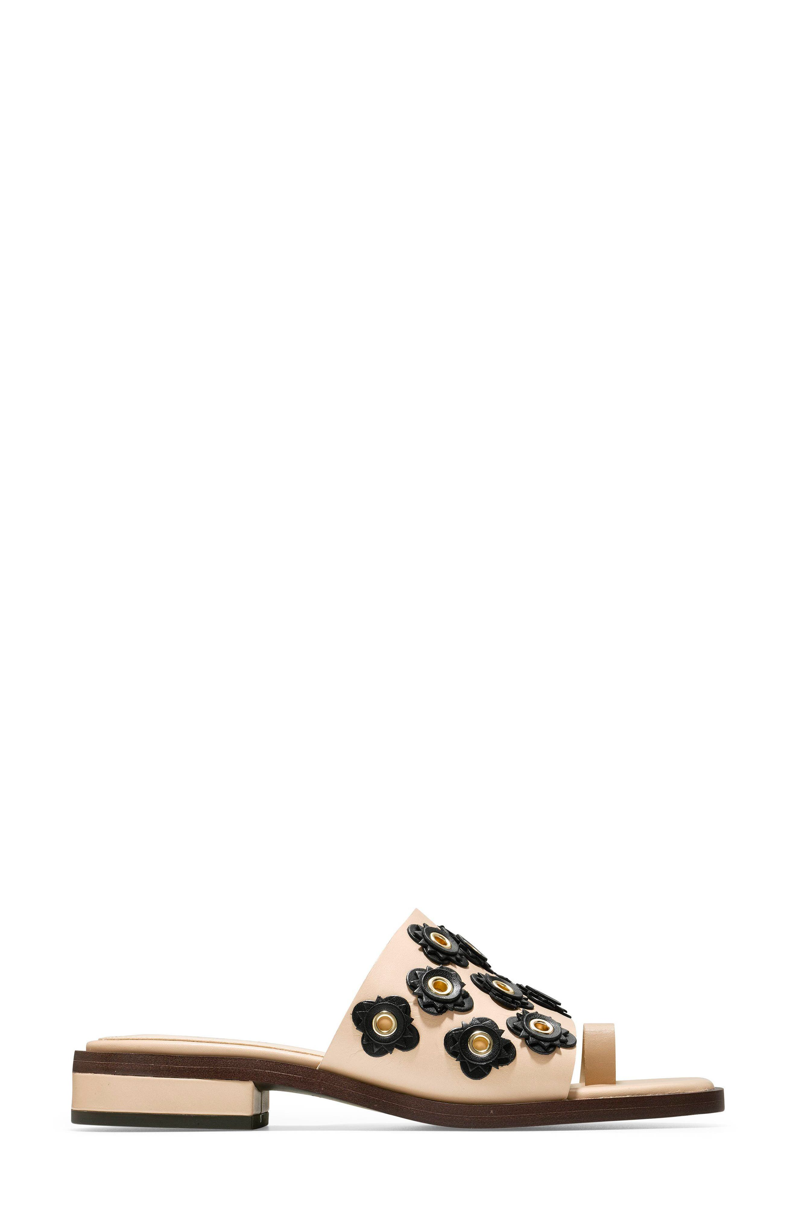 Carly Floral Sandal,                             Alternate thumbnail 3, color,                             Nude/ Black Leather