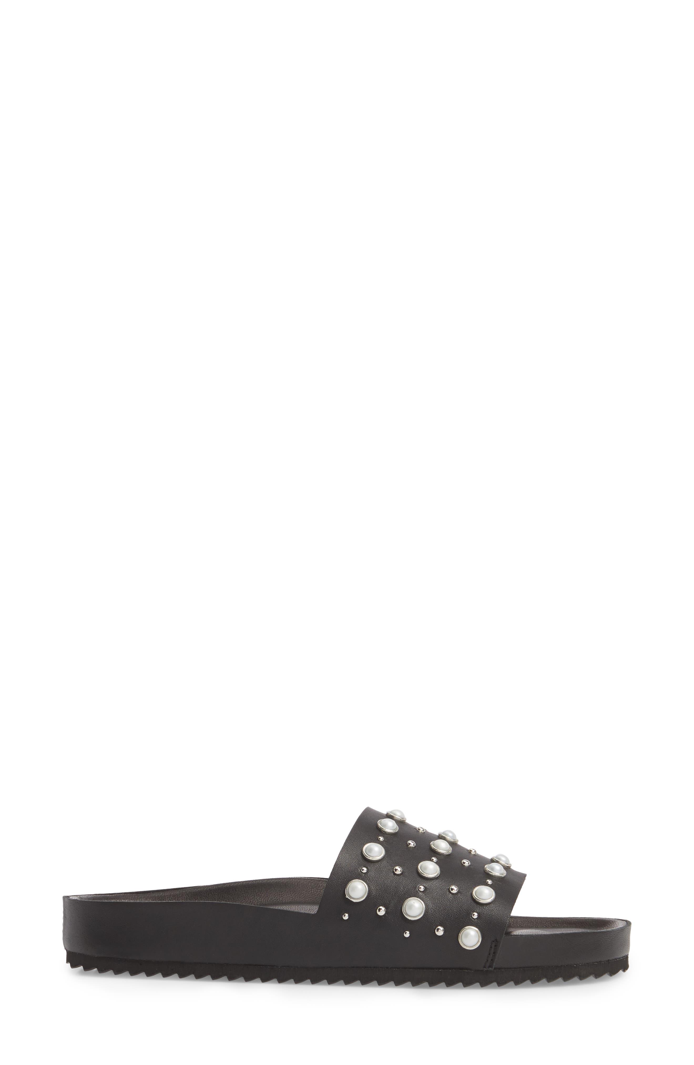 Santori Slide Sandal,                             Alternate thumbnail 3, color,                             Napa Black Leather