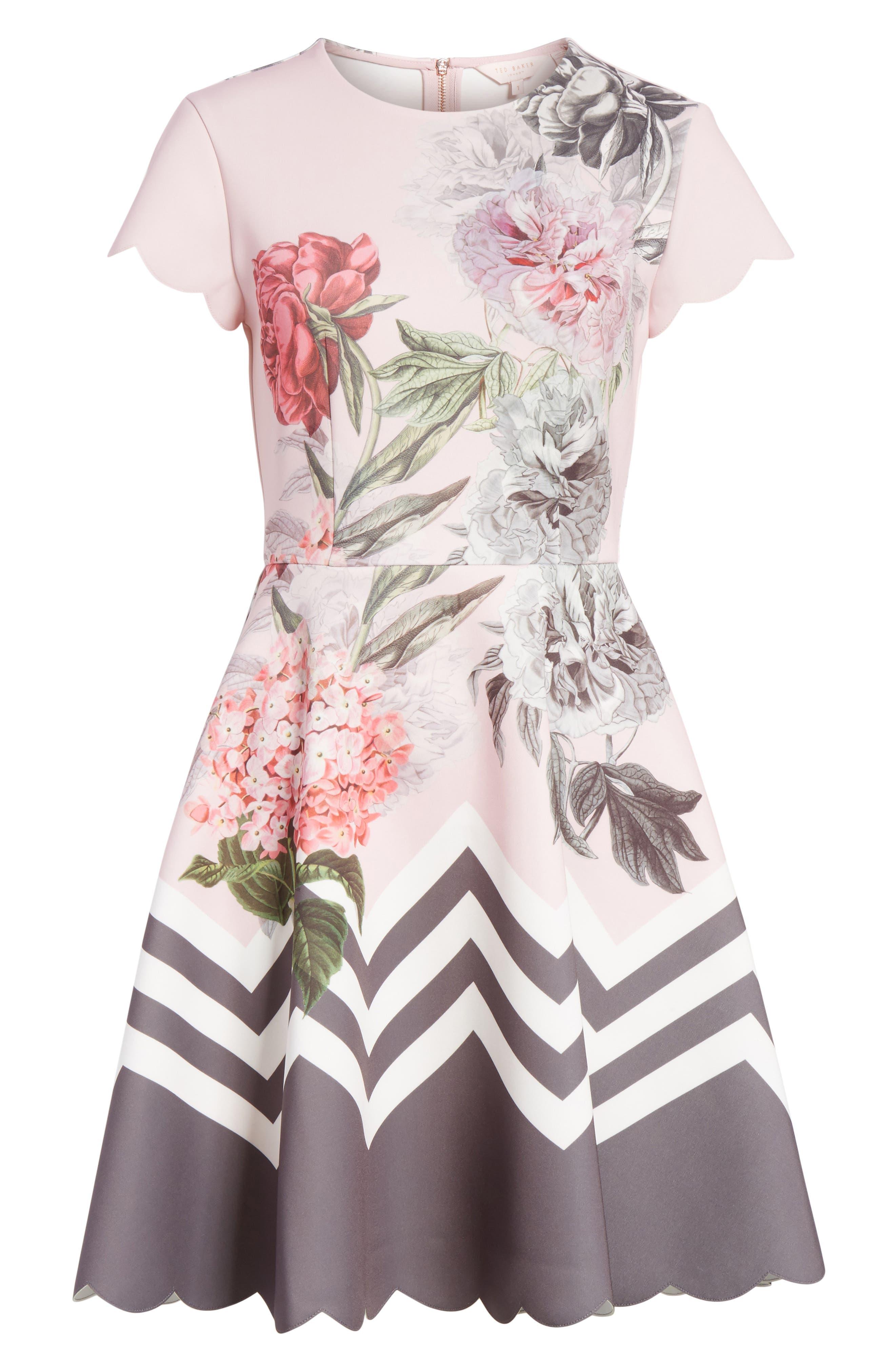 Palace Gardens Skater Dress,                             Alternate thumbnail 6, color,                             Dusky Pink