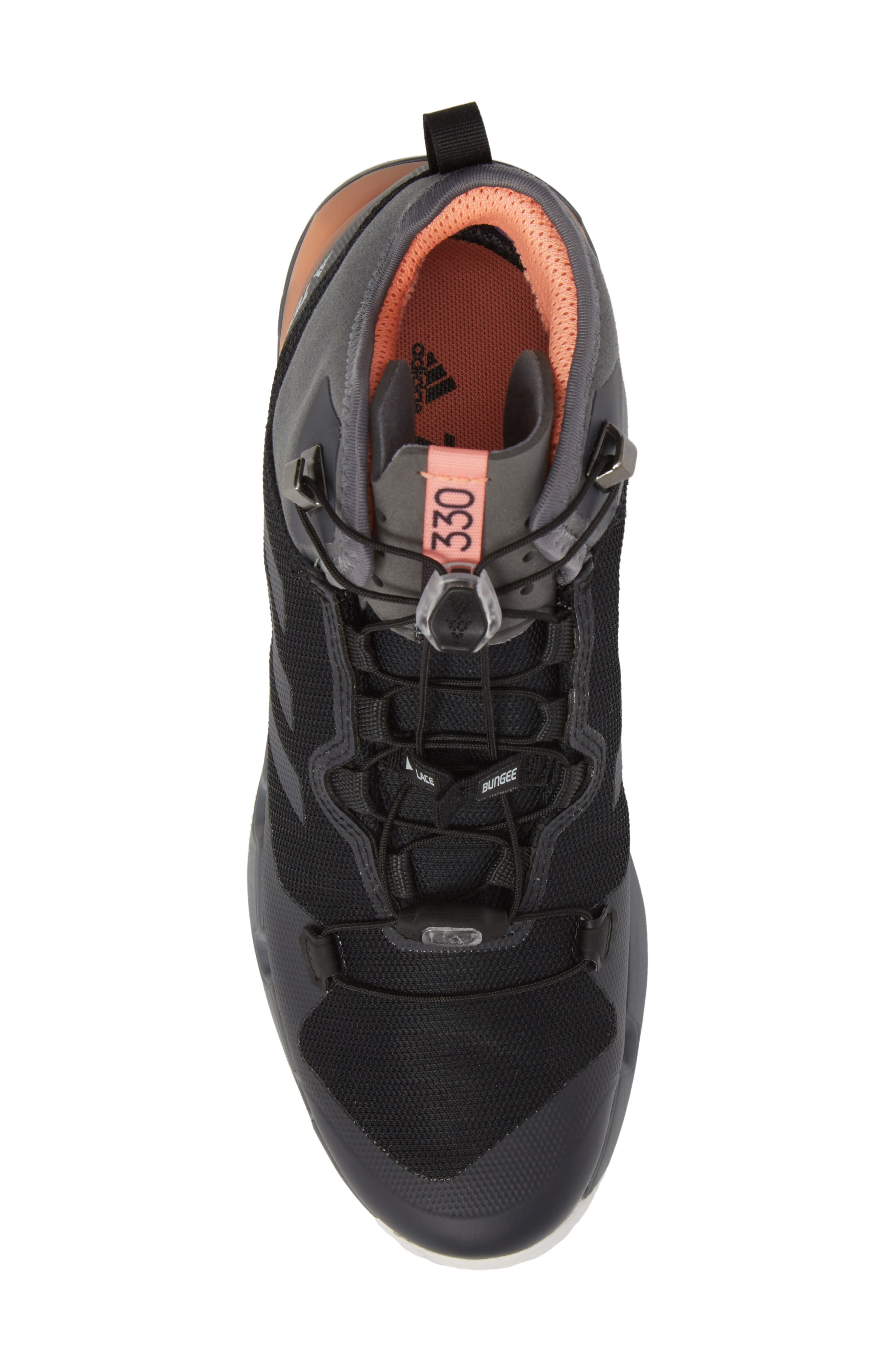 Terrex Fast Mid Gore-Tex<sup>®</sup> Hiking Boot,                             Alternate thumbnail 5, color,                             Black/ Grey Five/ Chalk Coral