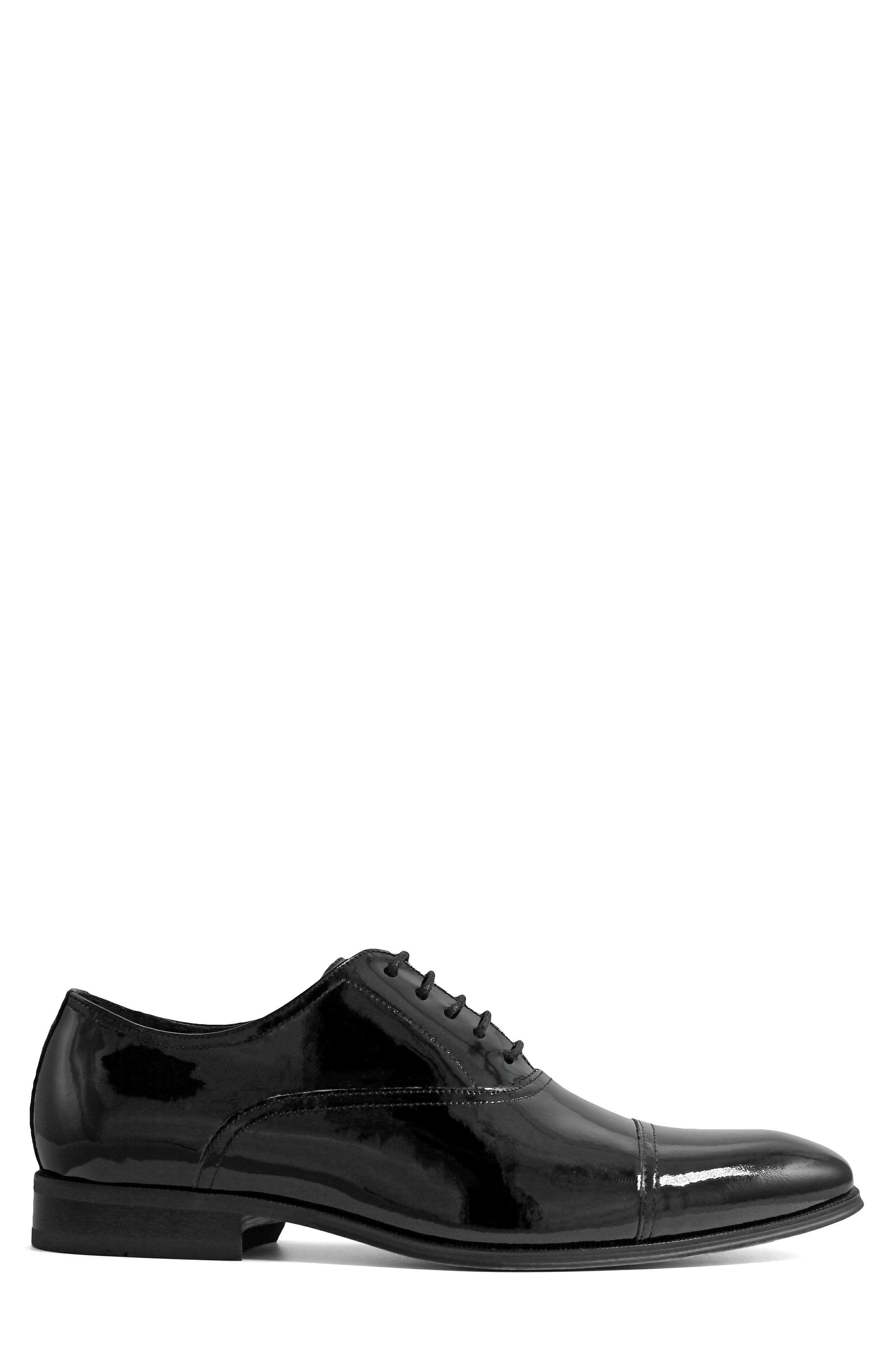 Tux Cap Toe Oxford,                             Alternate thumbnail 3, color,                             Black Patent Leather
