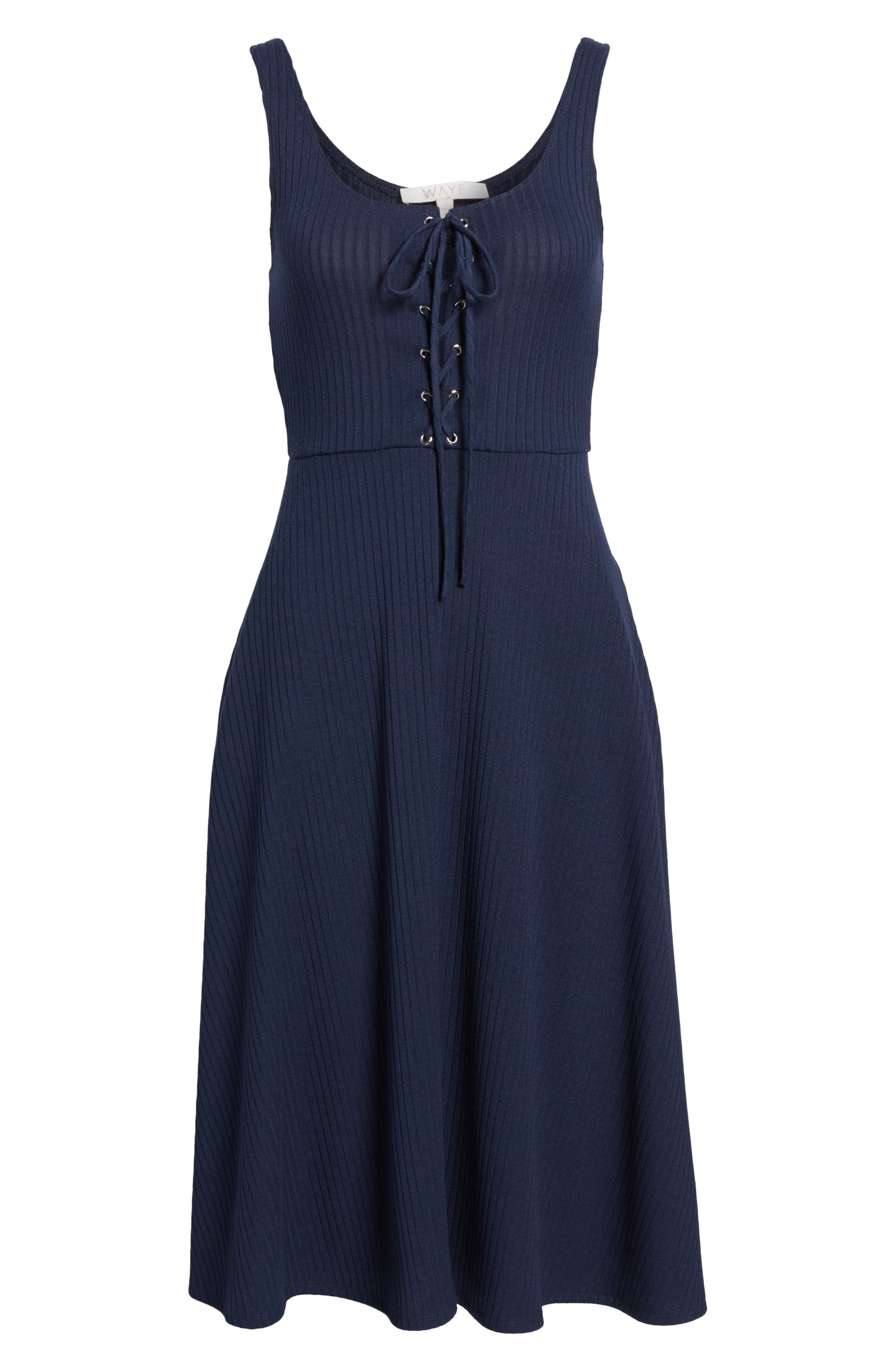 Fawn Lace-Up Midi Dress,                             Alternate thumbnail 6, color,                             Navy