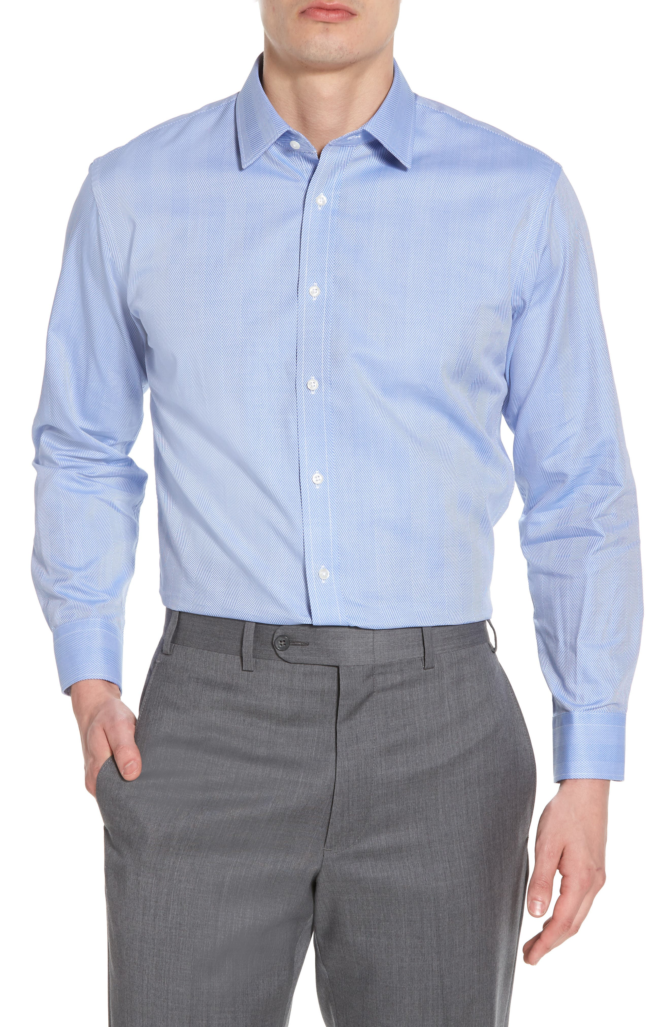 Trim Fit Herringbone Dress Shirt,                         Main,                         color, Blue Provence