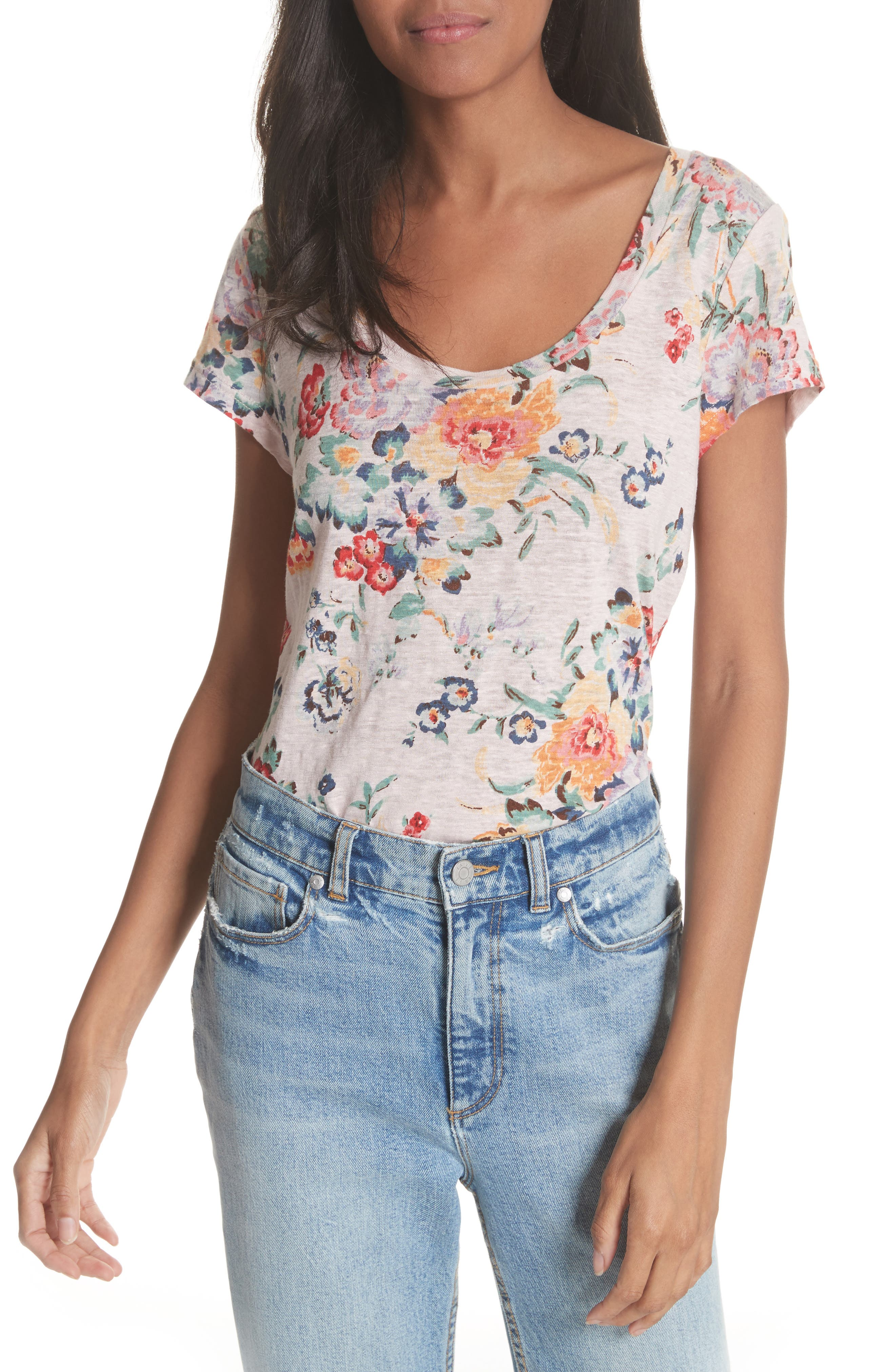 Marlena Floral Linen Tee,                         Main,                         color, Dusty Rose Combo