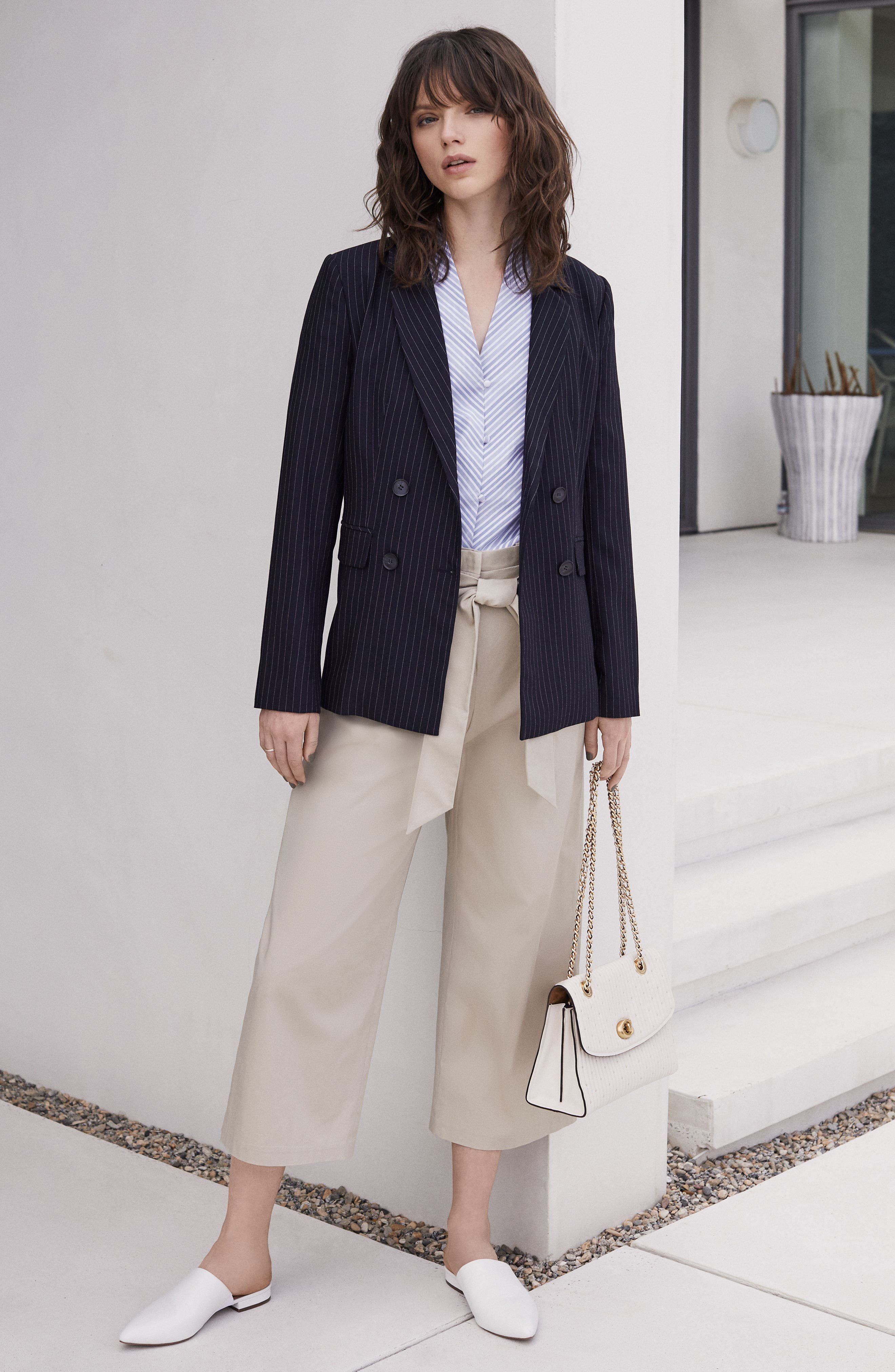 Paperbag Waist Belted Wide Leg Crop Pants,                             Alternate thumbnail 10, color,