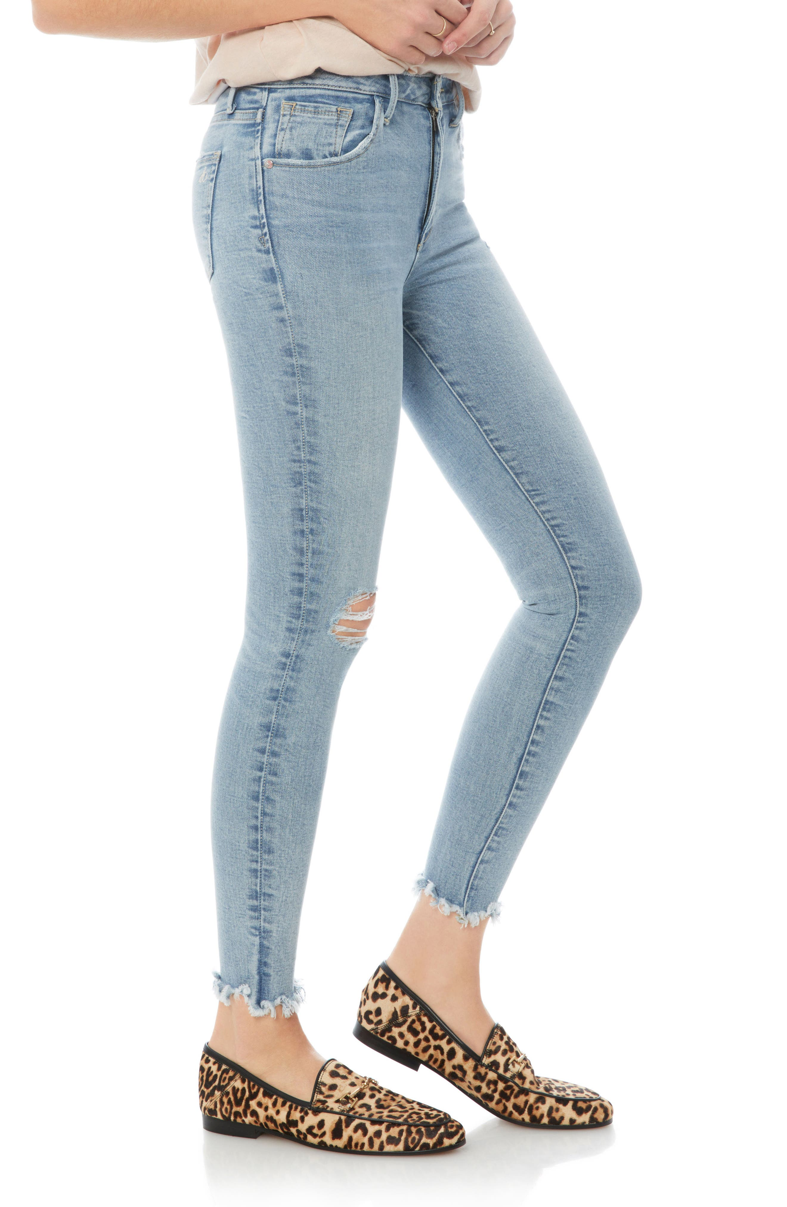 The Stiletto Ripped Fringe Jeans,                             Alternate thumbnail 3, color,                             Honor