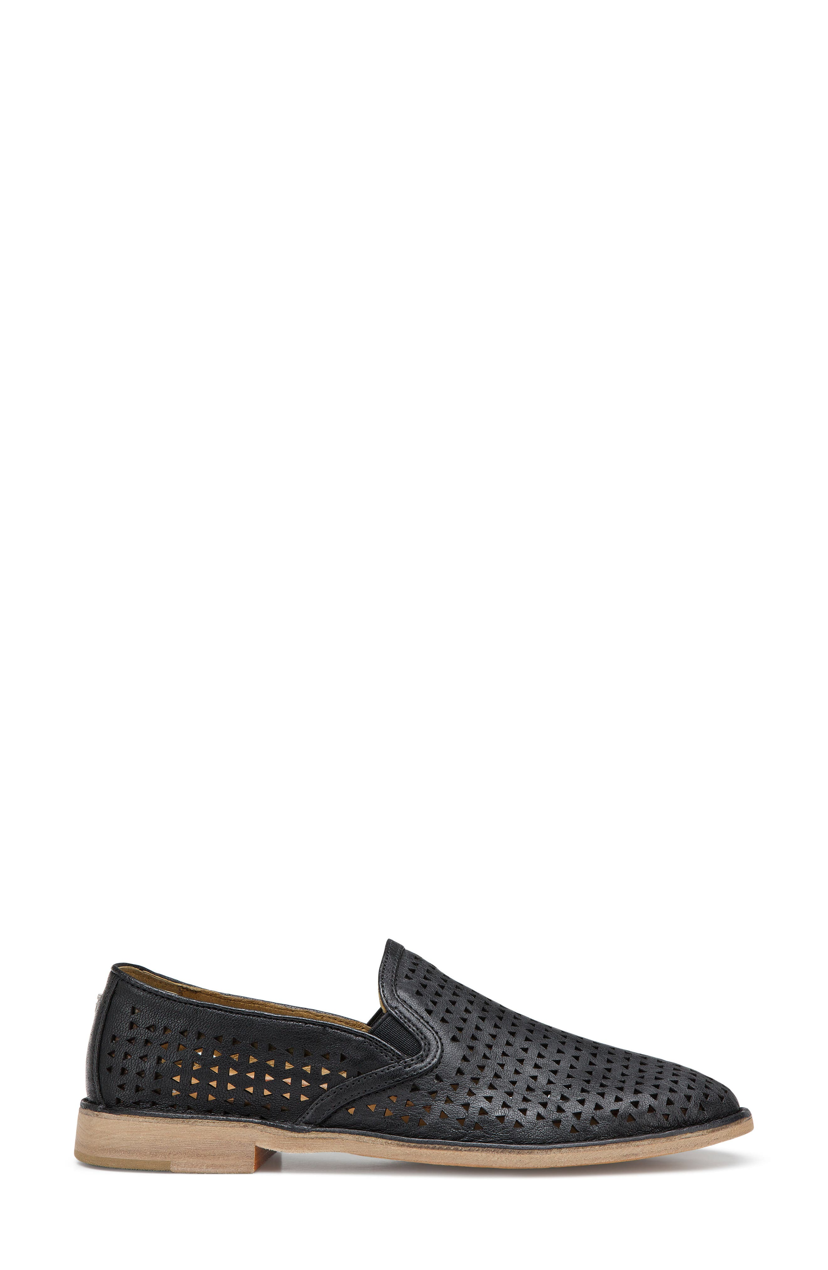 'Ali' Perforated Loafer,                             Alternate thumbnail 3, color,                             Black Leather