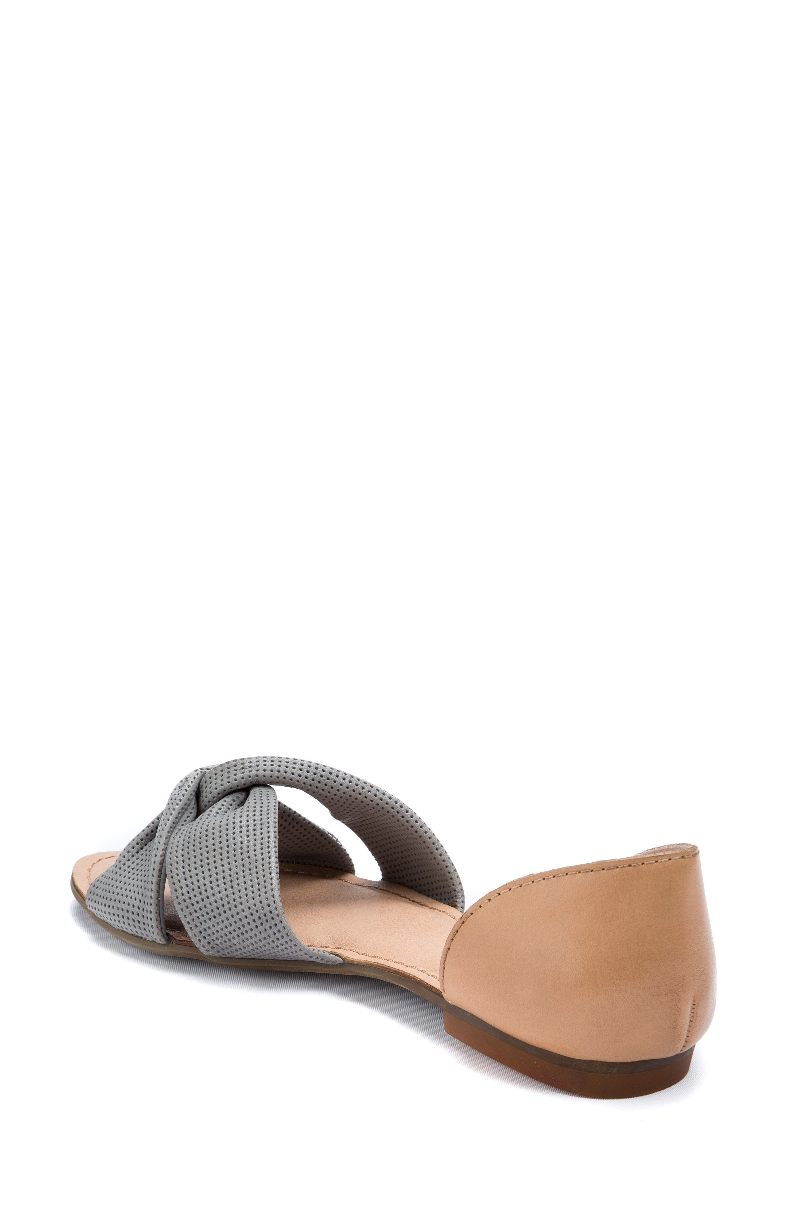 Darcy Perforated Flat Sandal,                             Alternate thumbnail 2, color,                             Mist Grey Leather