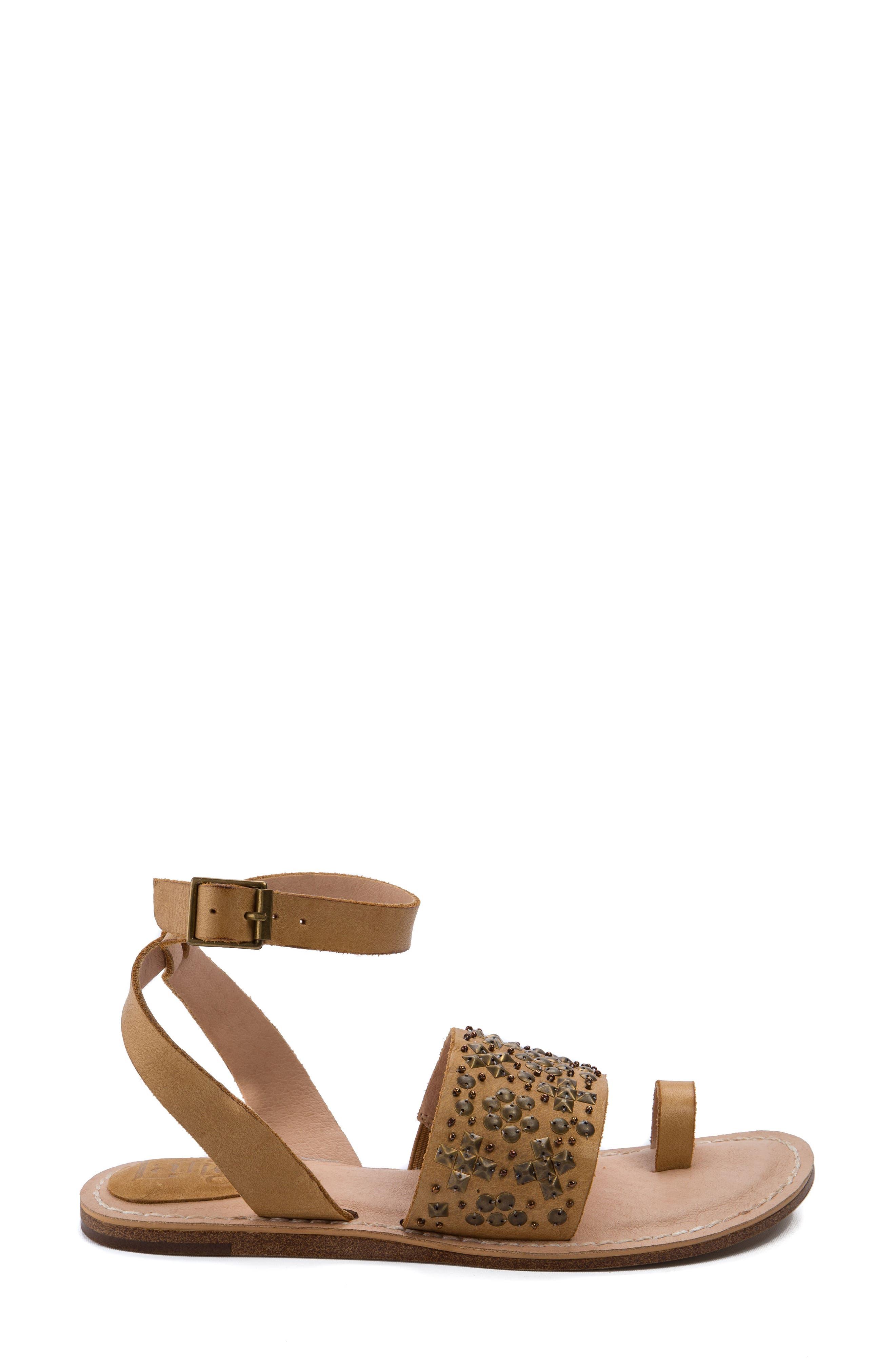 Vera Embellished Sandal,                             Alternate thumbnail 3, color,                             Dark Natural Leather