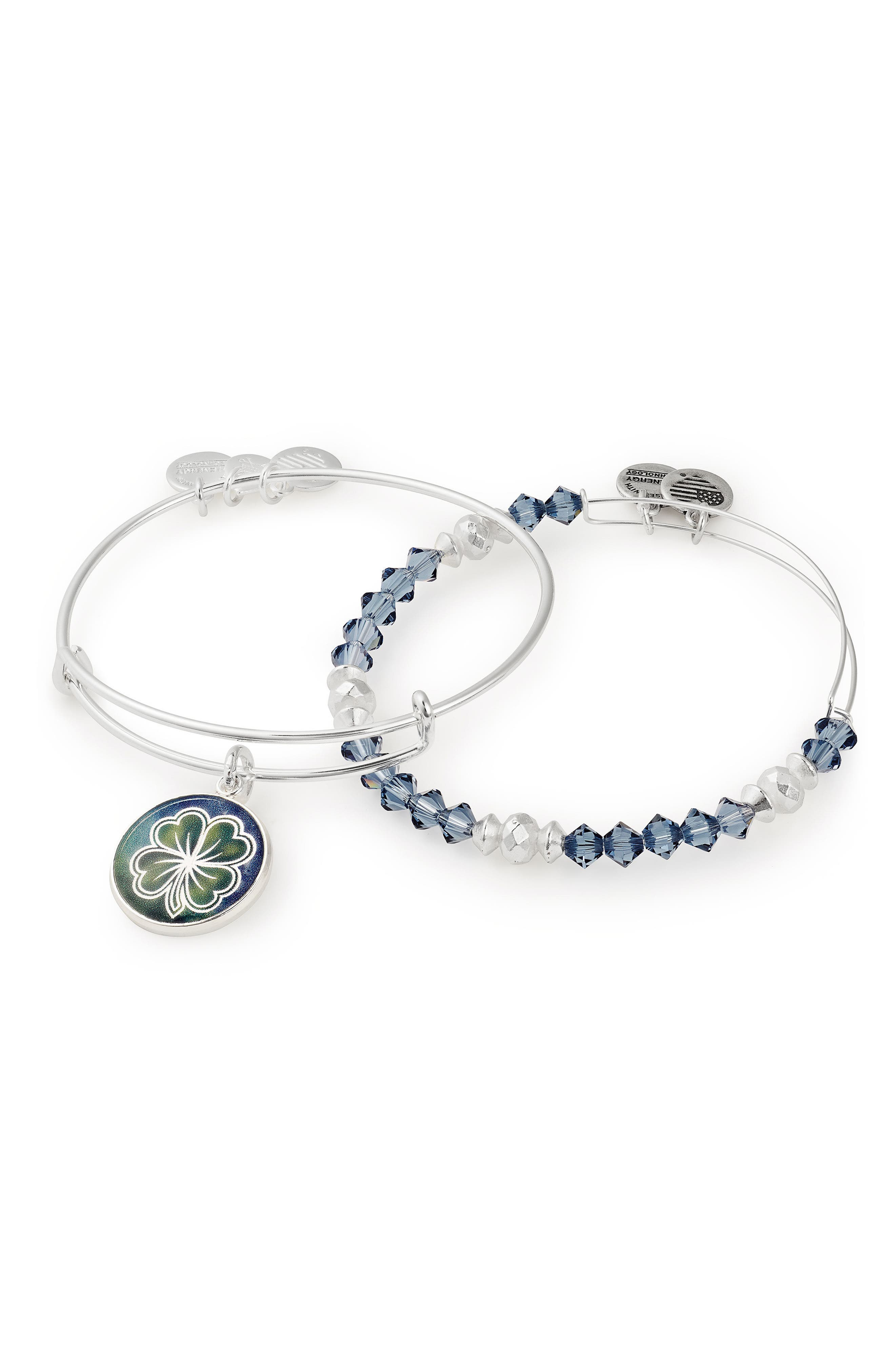 Four-Leaf Clover Art Infusion Set of 2 Bangles,                             Alternate thumbnail 2, color,                             Silver