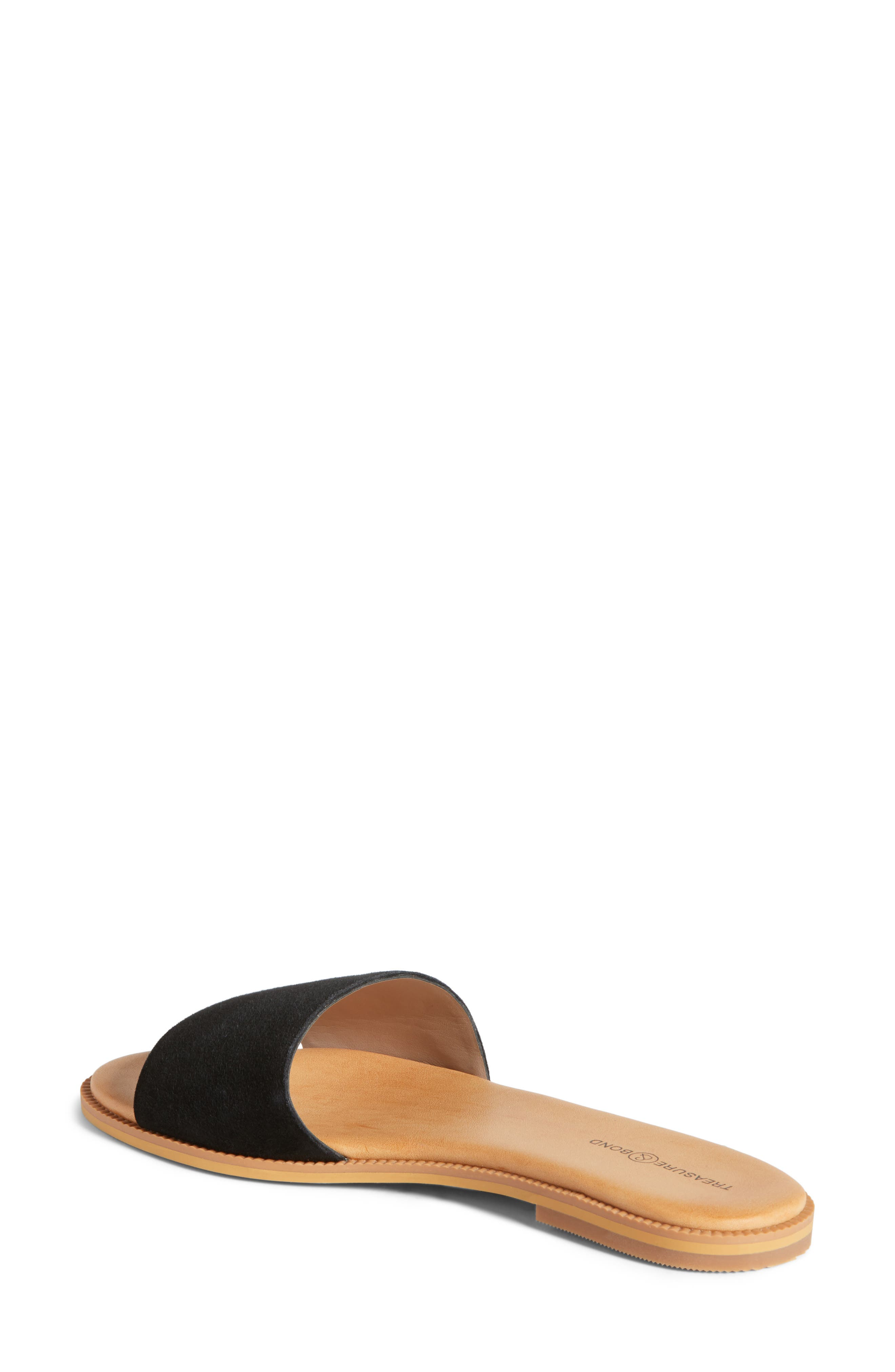 Mere Flat Slide Sandal,                             Alternate thumbnail 2, color,                             Black Suede