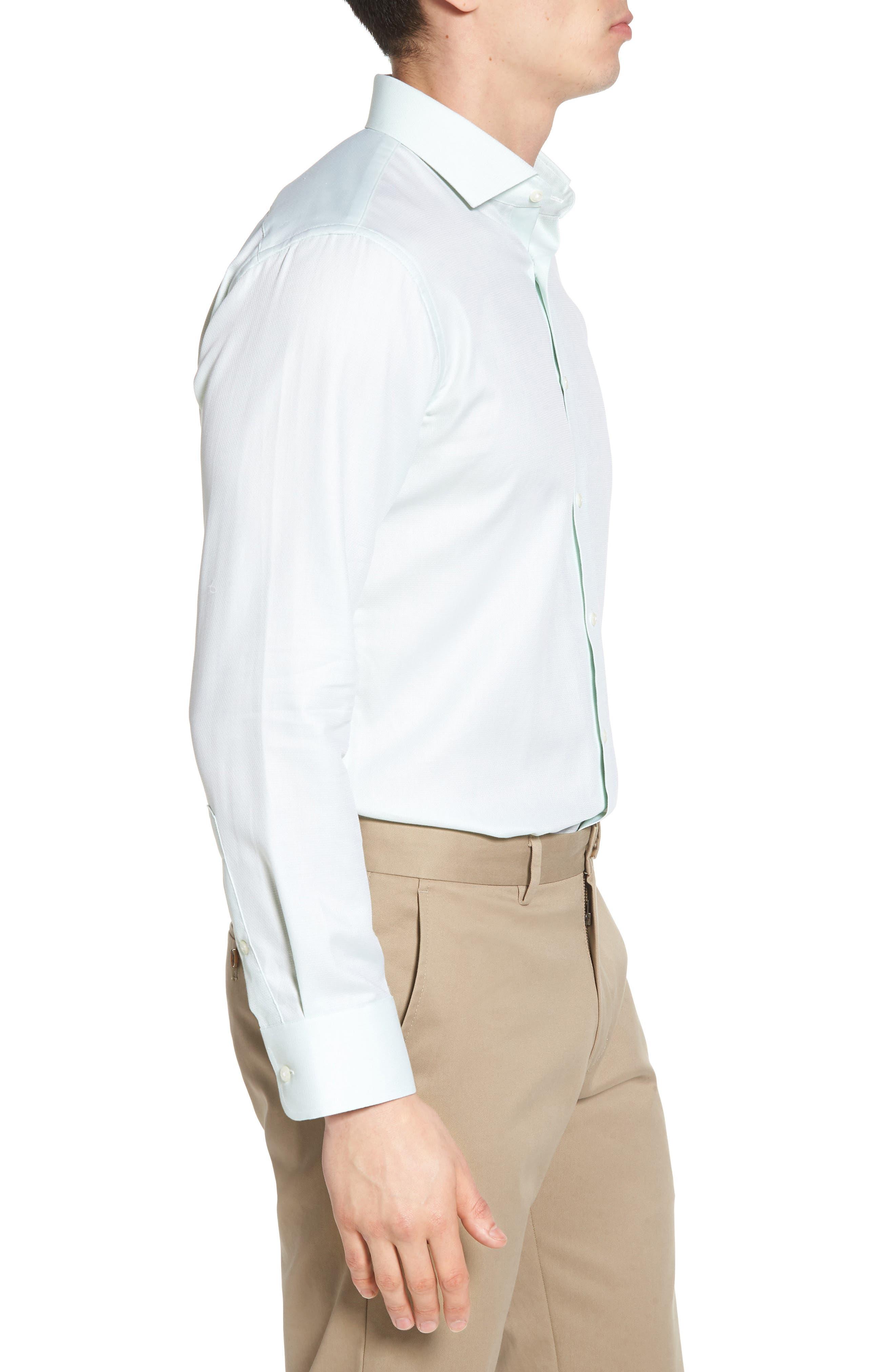 Trim Fit Solid Dress Shirt,                             Alternate thumbnail 4, color,                             Green Screen