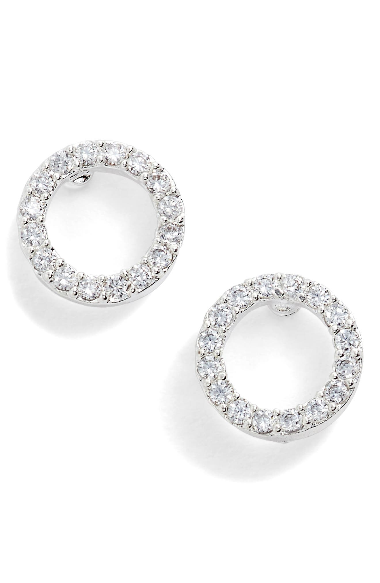 Cubic Zirconia Circle Earrings,                             Alternate thumbnail 2, color,                             Silver