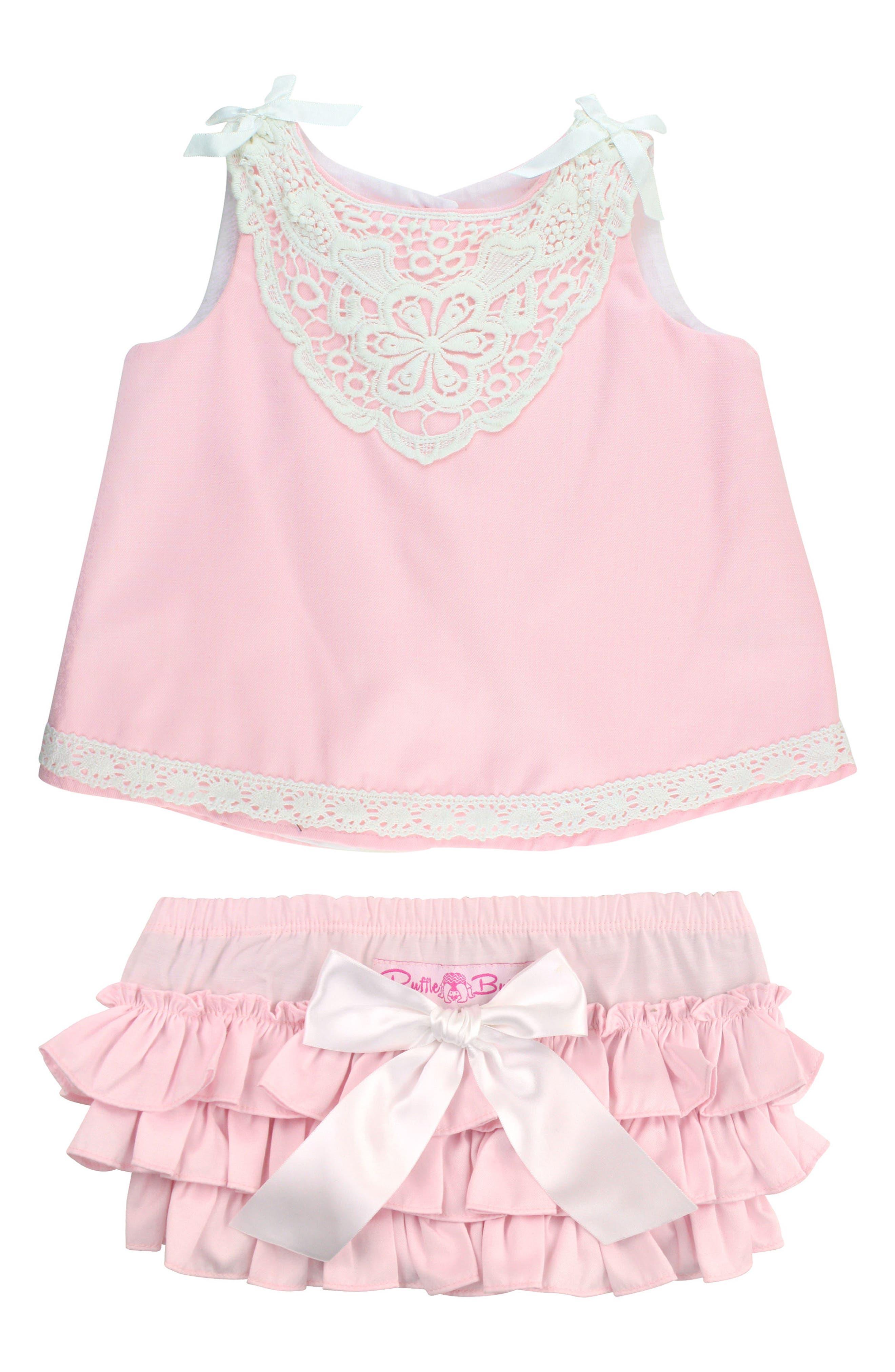 Chambray Swing Top & Ruffle Bloomers Set,                             Main thumbnail 1, color,                             Pink