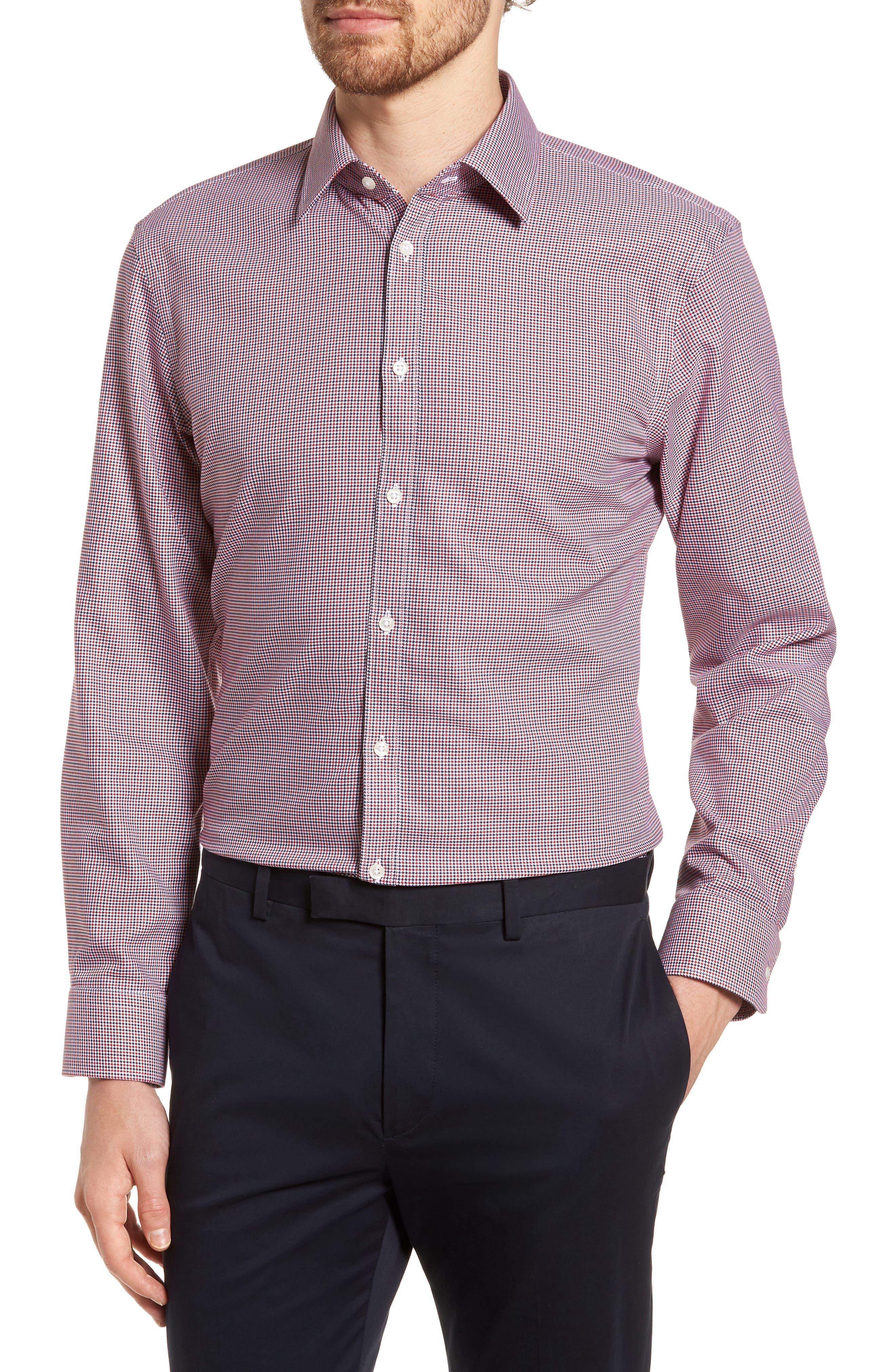 Main Image - Nordstrom Men's Shop Smartcare™ Extra Trim Fit Houndstooth Dress Shirt