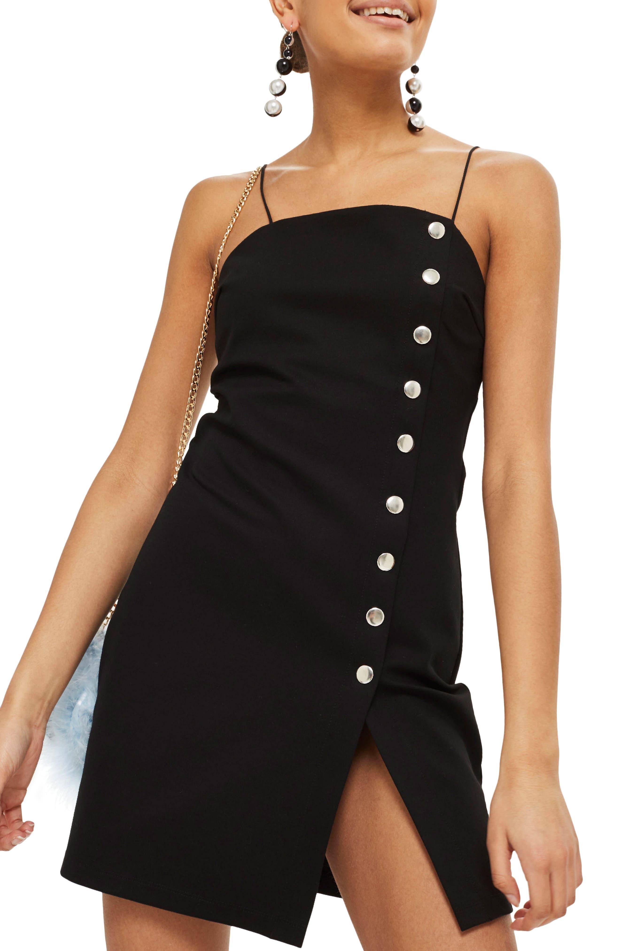 Body-Con Slipdress,                         Main,                         color, Black