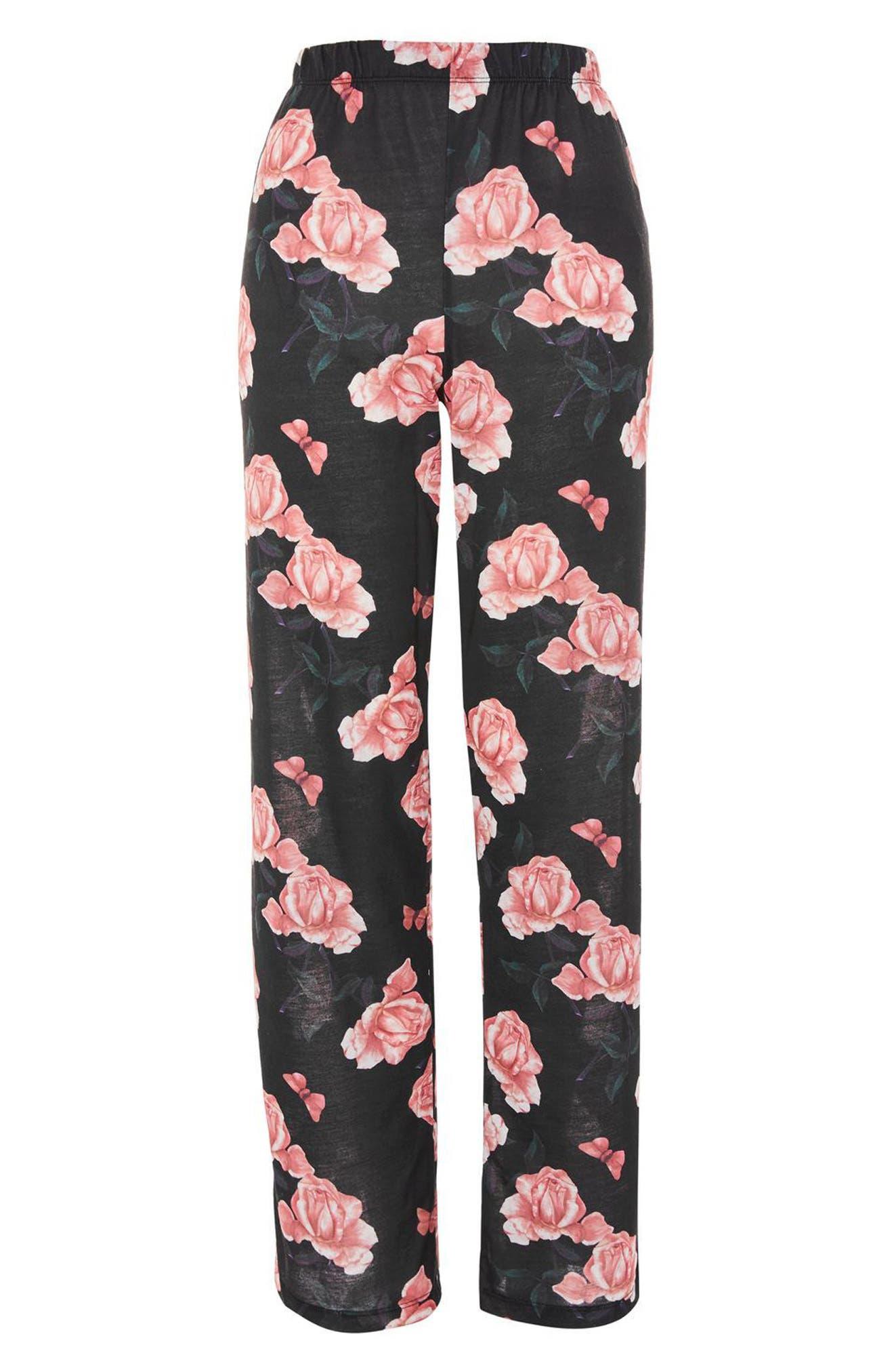 Rose Pajama Pants,                             Alternate thumbnail 3, color,                             Black Multi