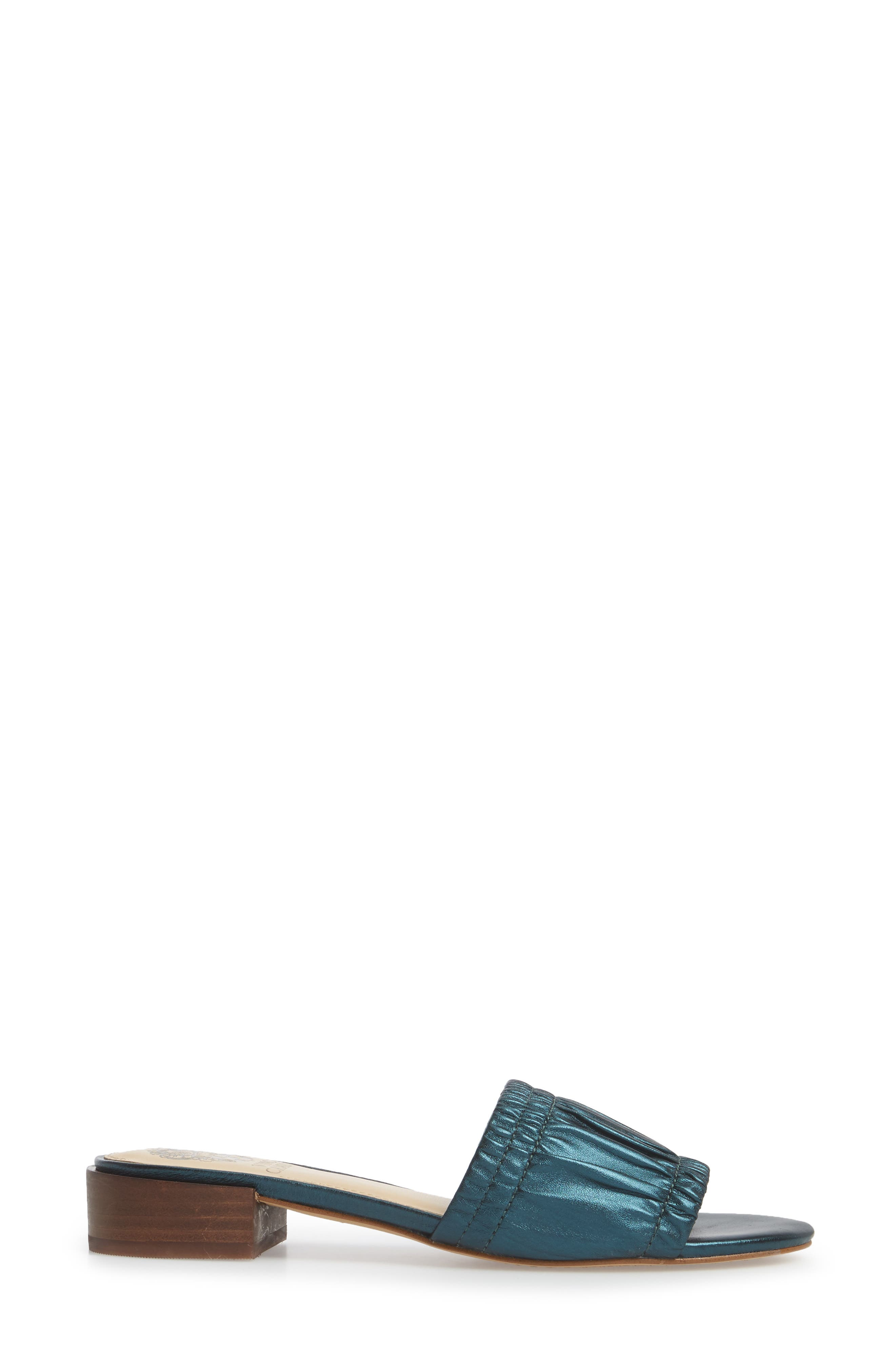 Nanita Pleated Slide Sandal,                             Alternate thumbnail 3, color,                             Metal Teal Fabric