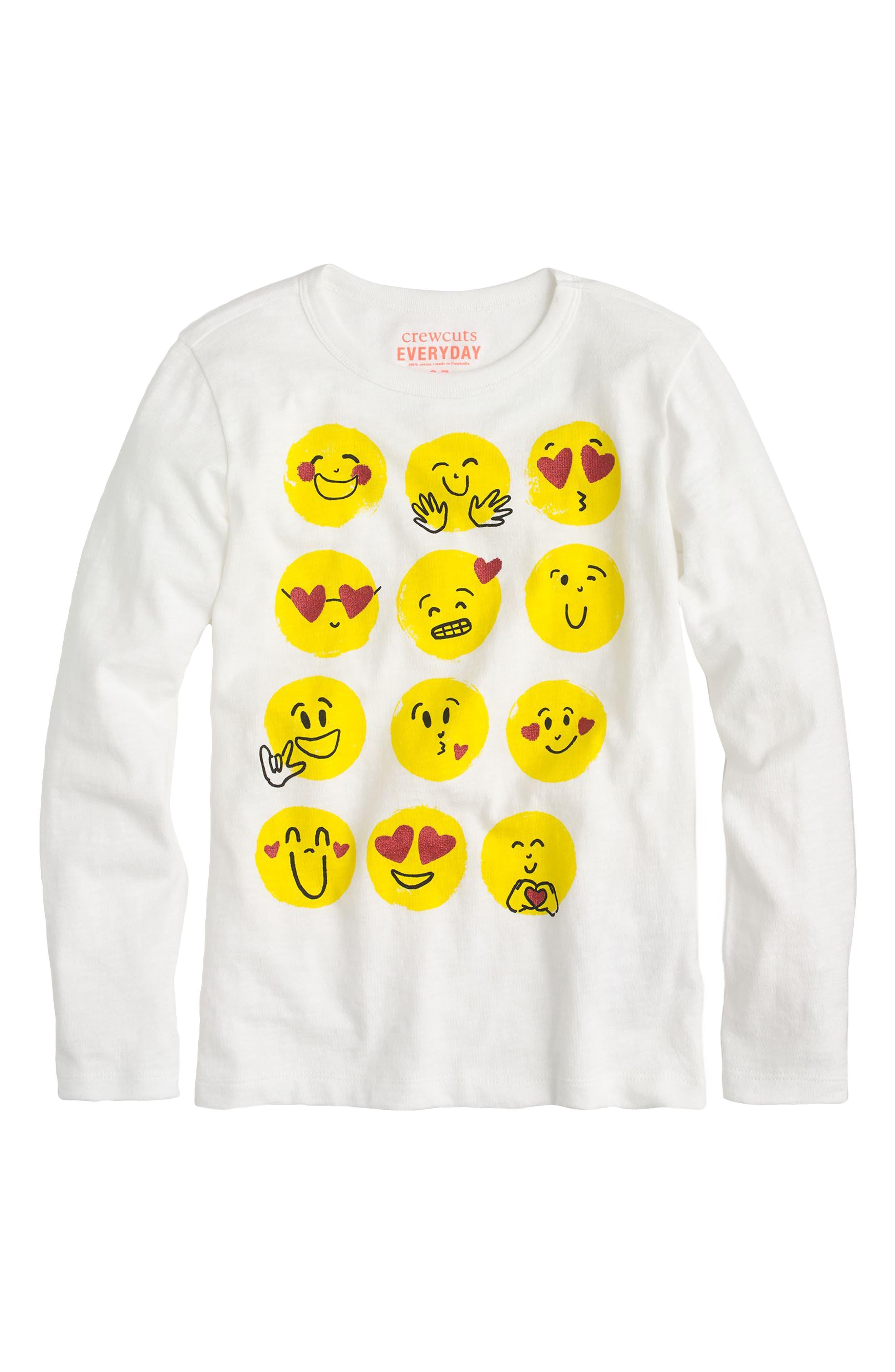 crewcuts by J.Crew Emoji Long Sleeve Cotton Tee (Toddler Girls, Little Girls & Big Girls)