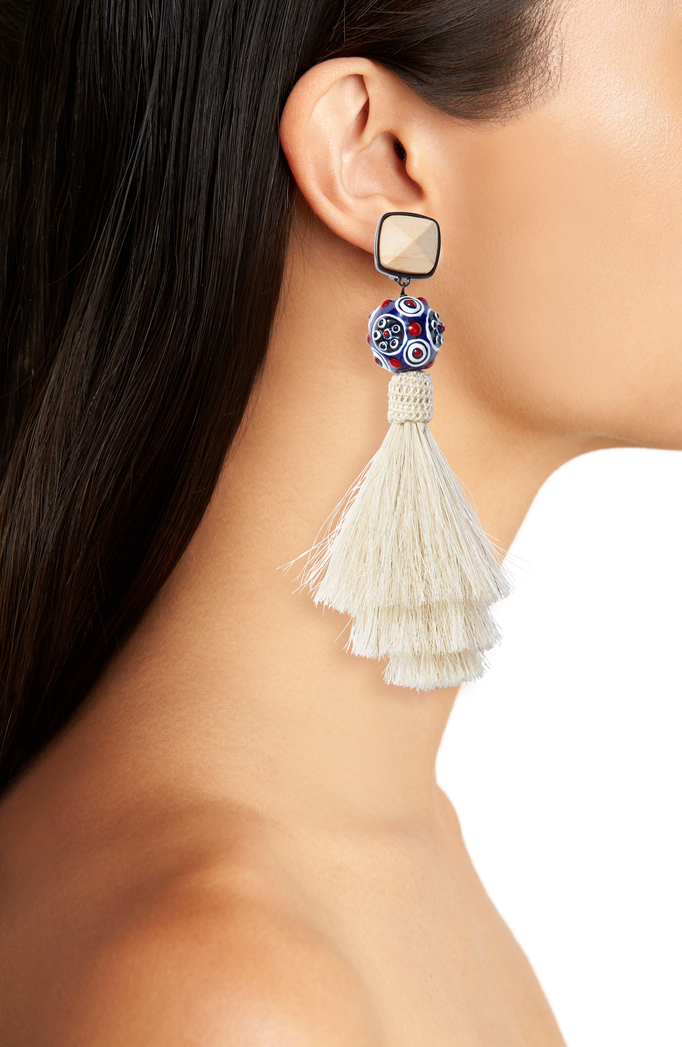 Tassel Earrings,                             Alternate thumbnail 2, color,                             New Ivory