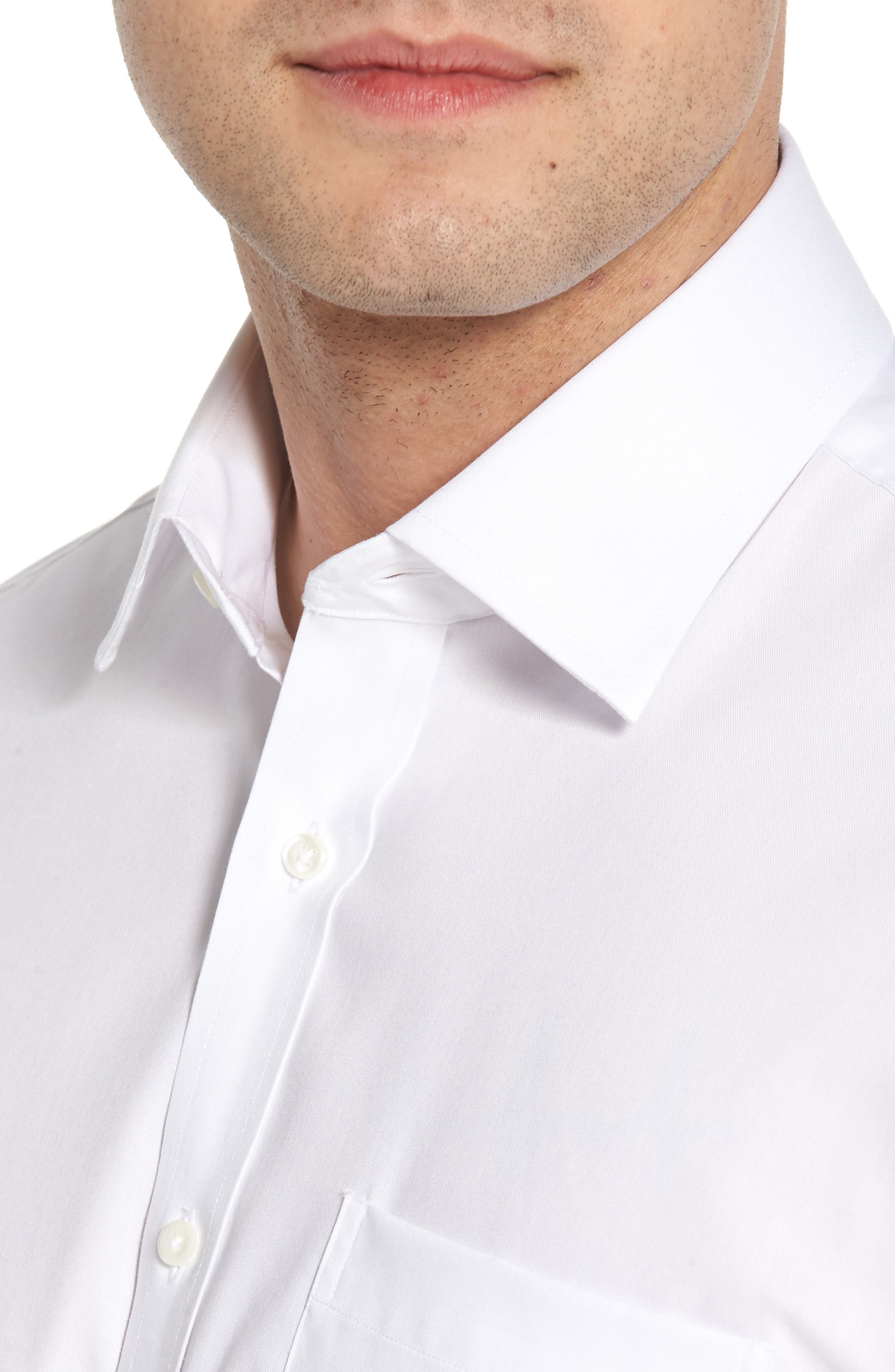 Traditional Fit Non-Iron Solid Short Sleeve Dress Shirt,                             Alternate thumbnail 2, color,                             White