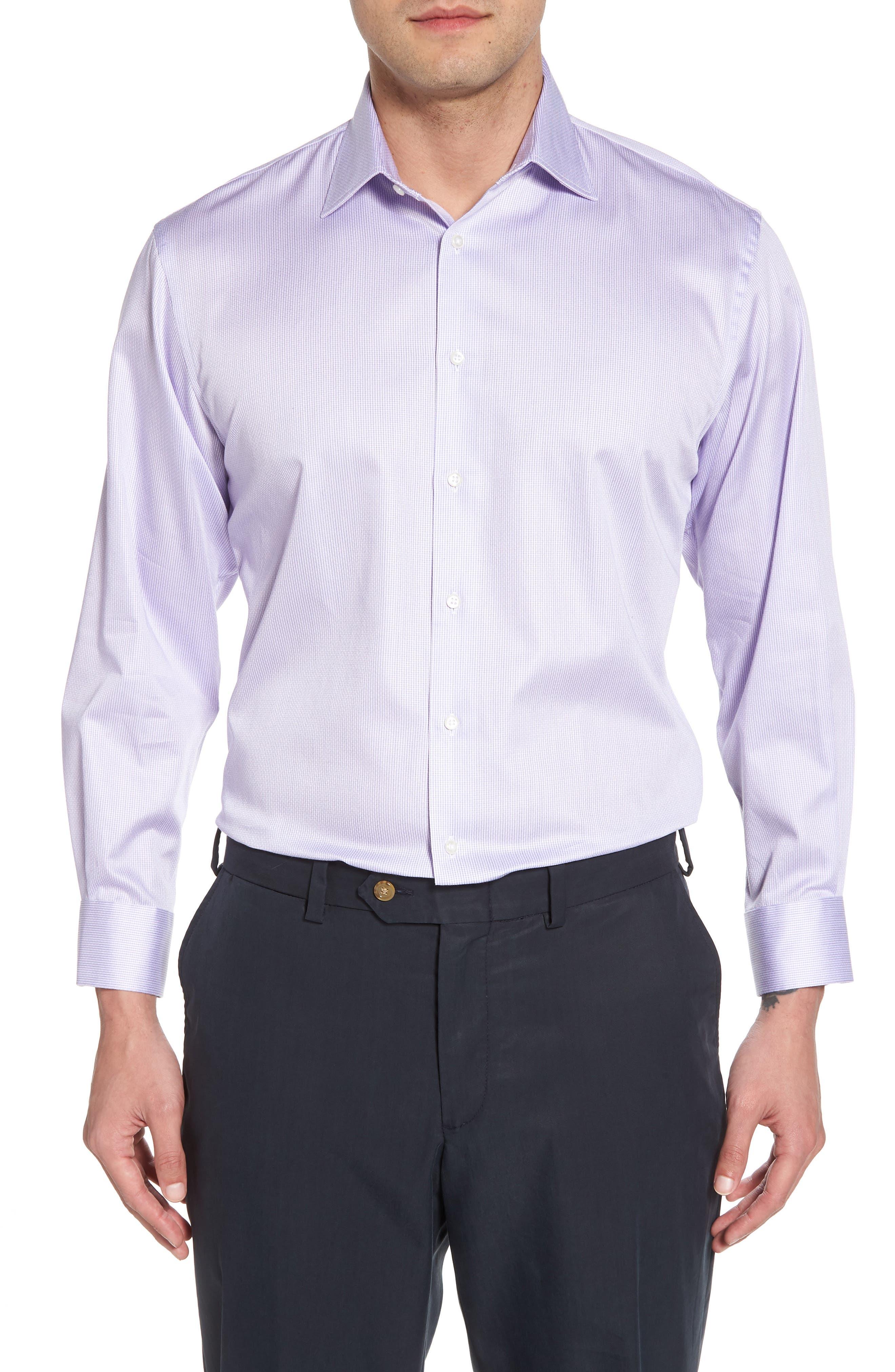 Traditional Fit Stripe Dress Shirt,                         Main,                         color, Purple Heirloom