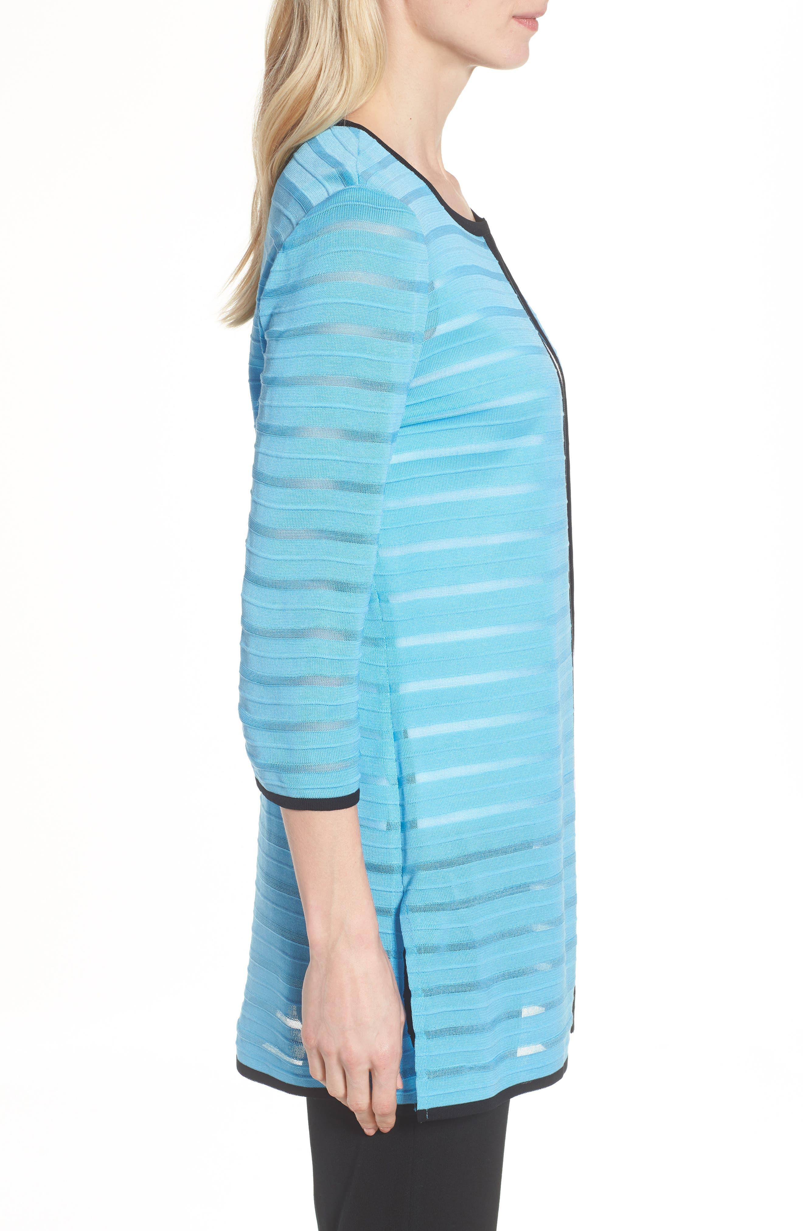 Sheer Stripe Long Jacket,                             Alternate thumbnail 3, color,                             Bluebonnet/ Black