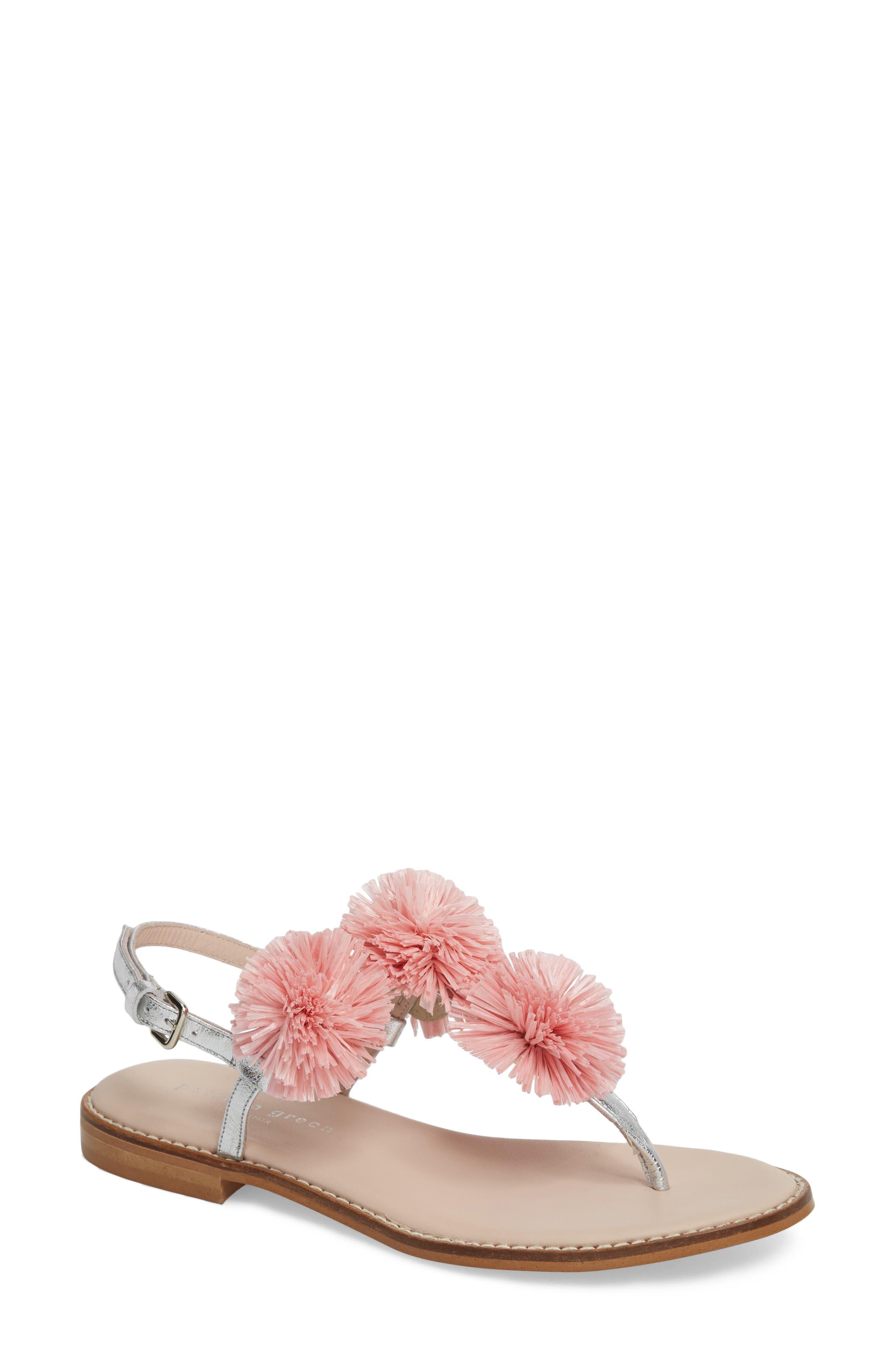 Pompom Thong Sandal,                             Main thumbnail 1, color,                             Pink Leather