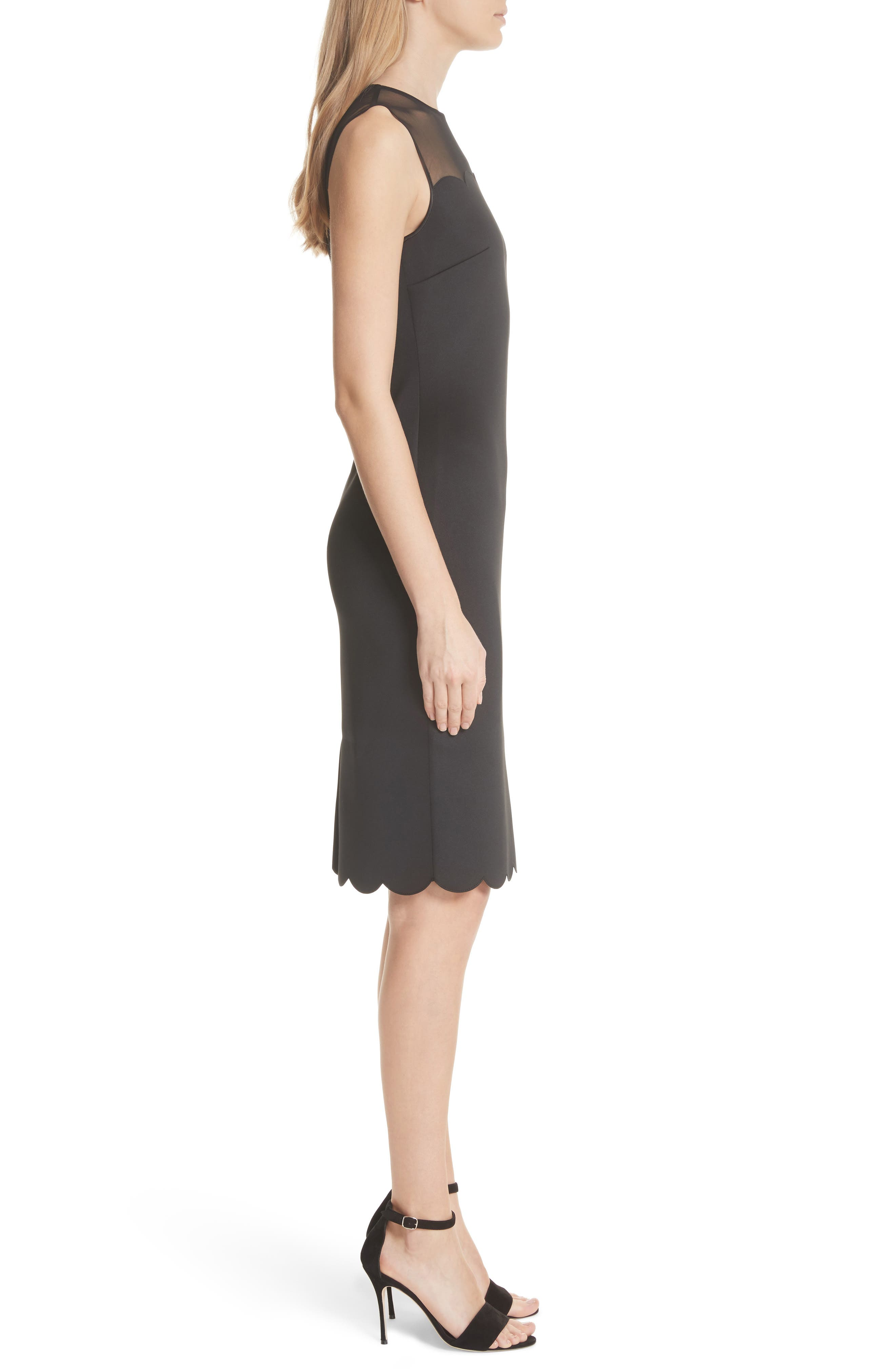 Scalloped Mesh Yoke Body-Con Dress,                             Alternate thumbnail 3, color,                             Black