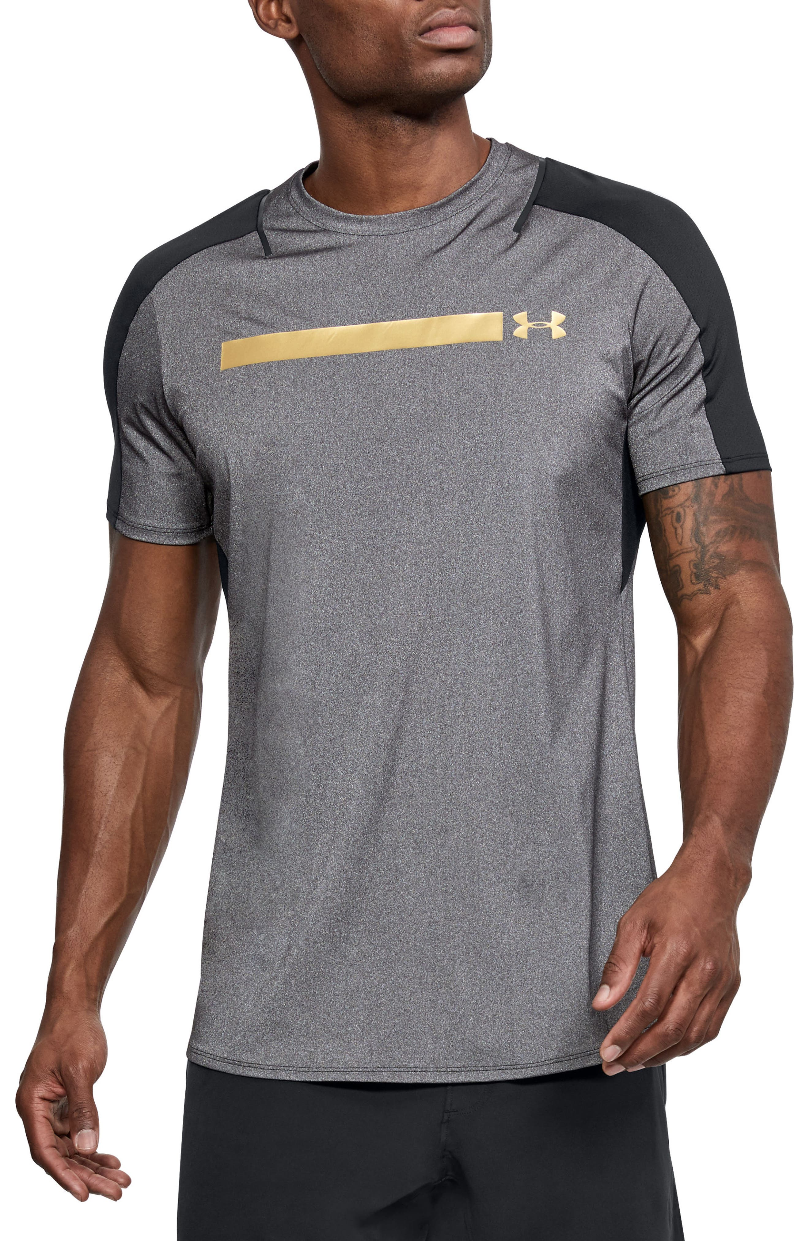 Perpetual Fitted Shirt,                             Main thumbnail 1, color,                             Black/ Metallic Victory Gold