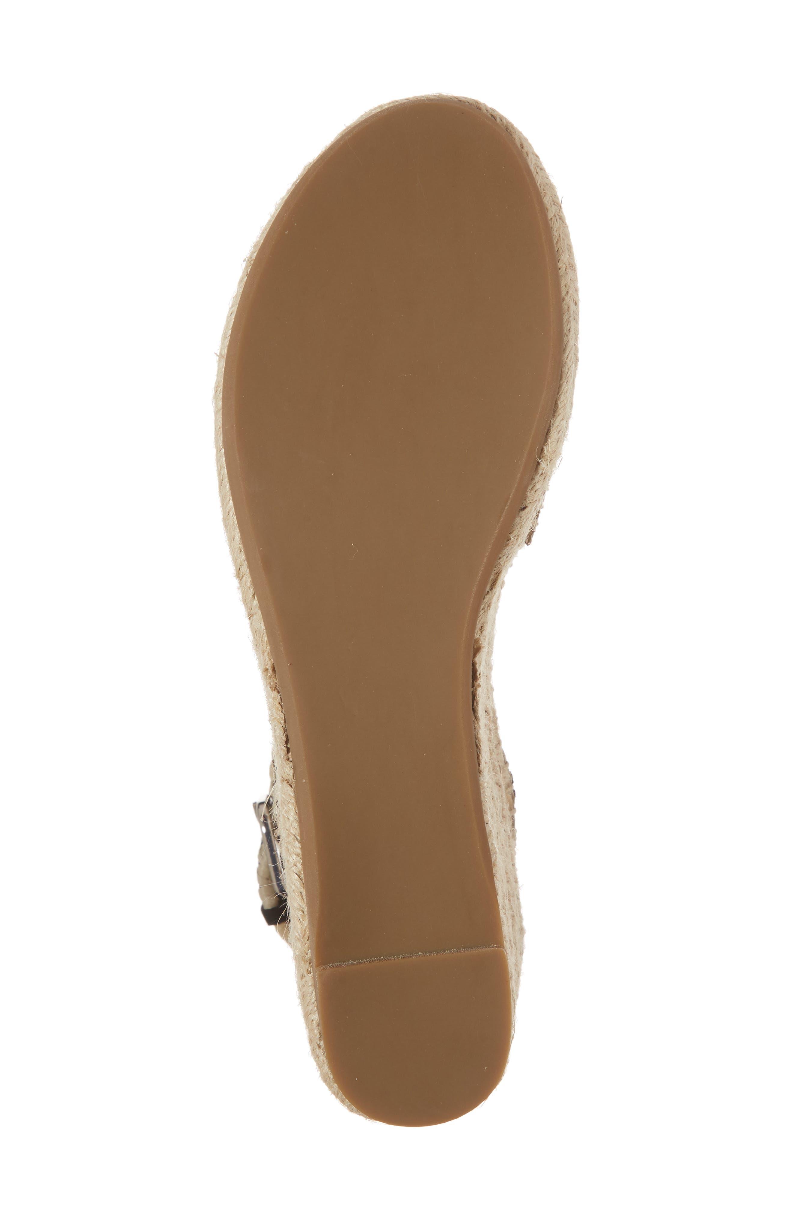 Ria Espadrille Platform Sandal,                             Alternate thumbnail 6, color,                             Black Leather