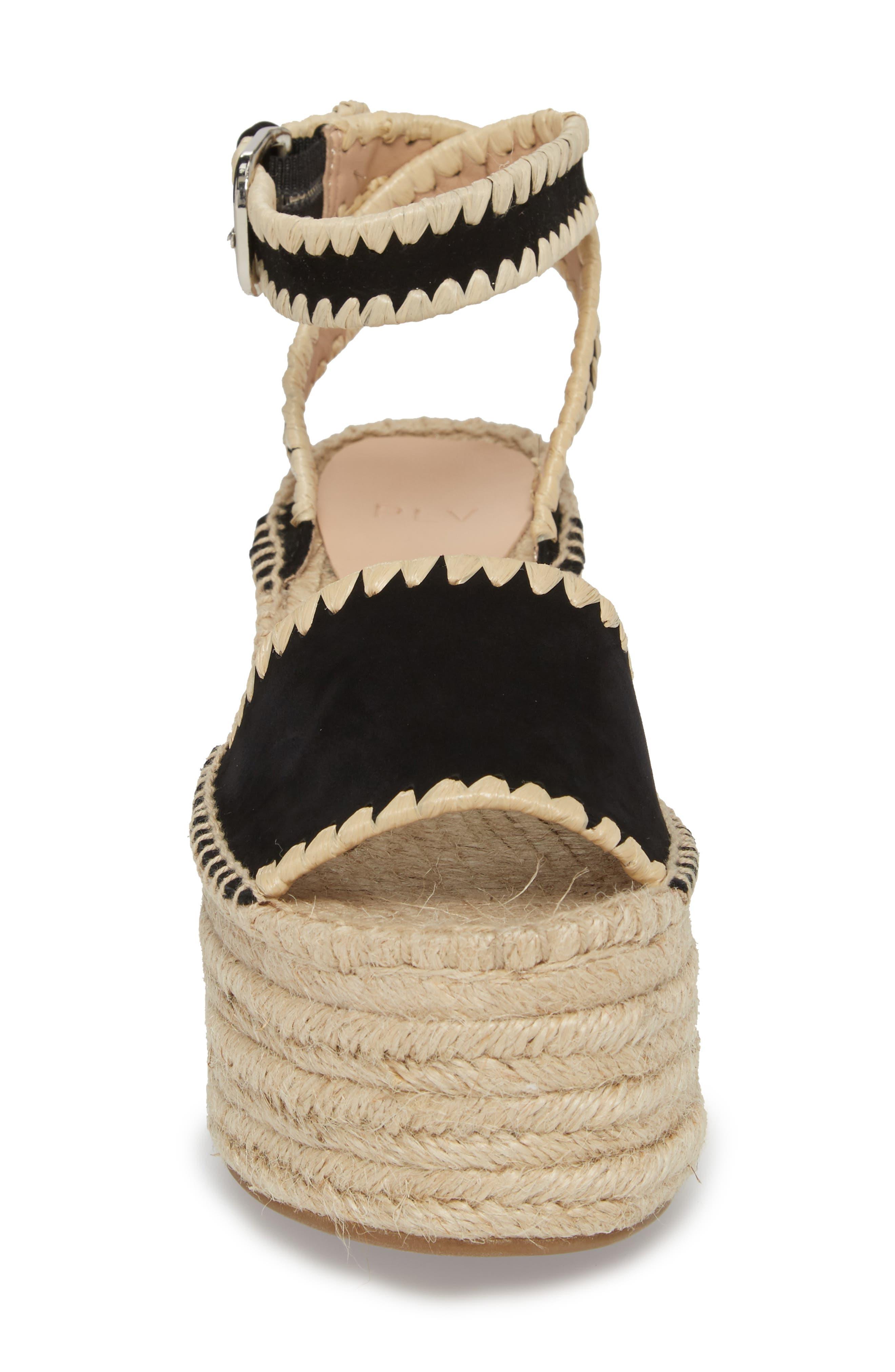 Ria Espadrille Platform Sandal,                             Alternate thumbnail 4, color,                             Black Leather