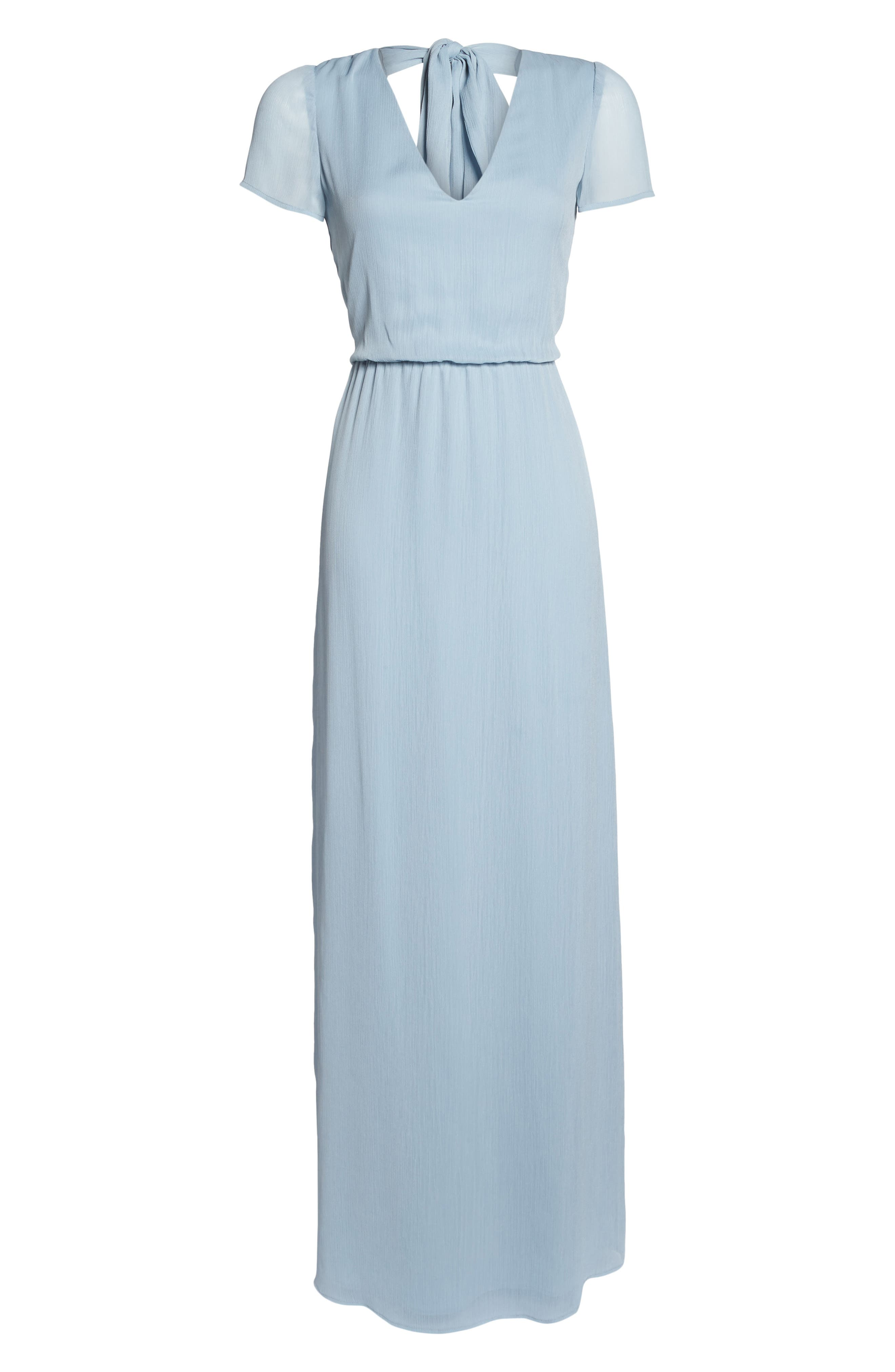 Anna Tie Back Gown,                             Alternate thumbnail 7, color,                             Blue Cloud