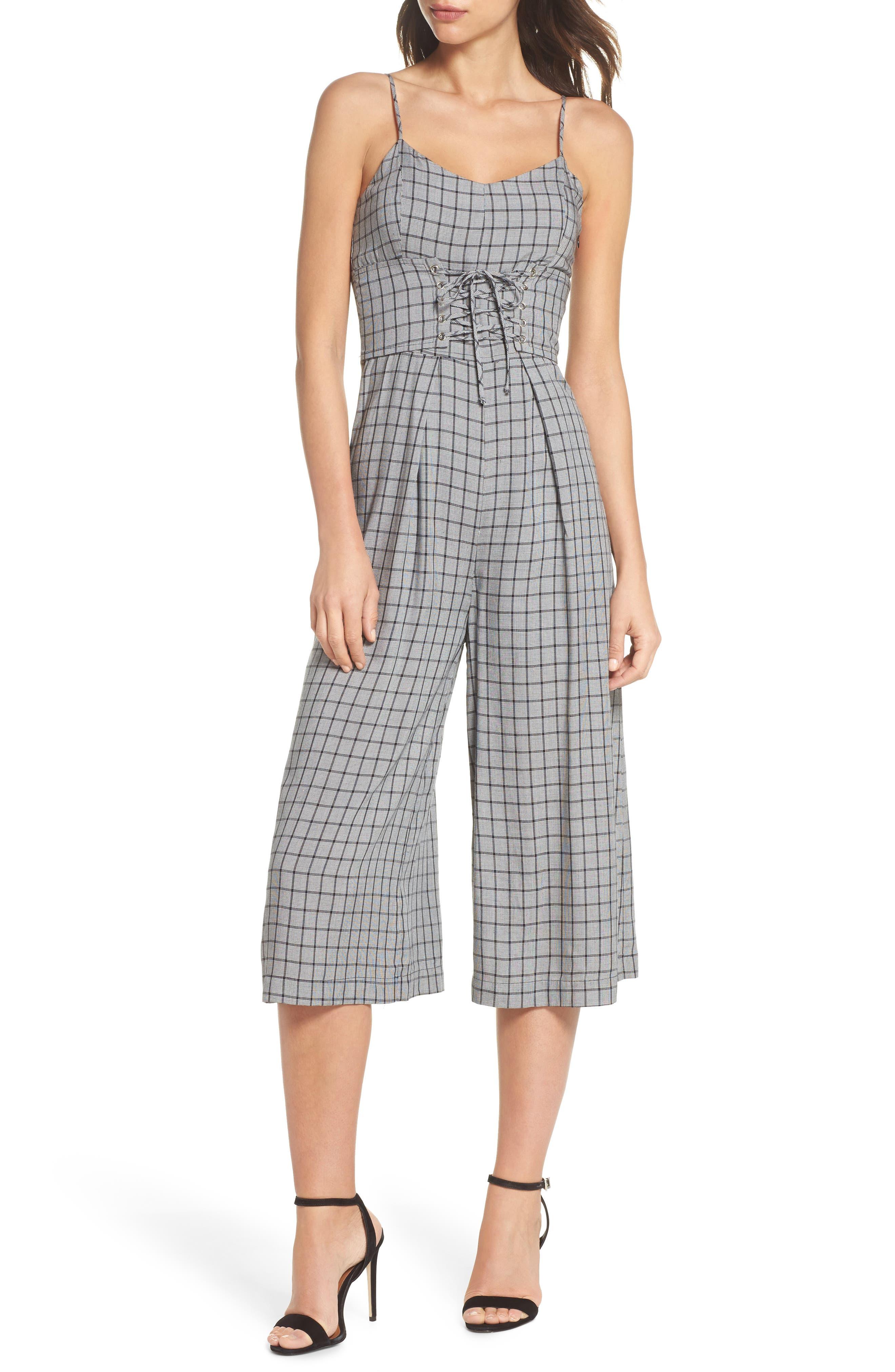 Quinn Corset Crop Jumpsuit,                         Main,                         color, Black/ White